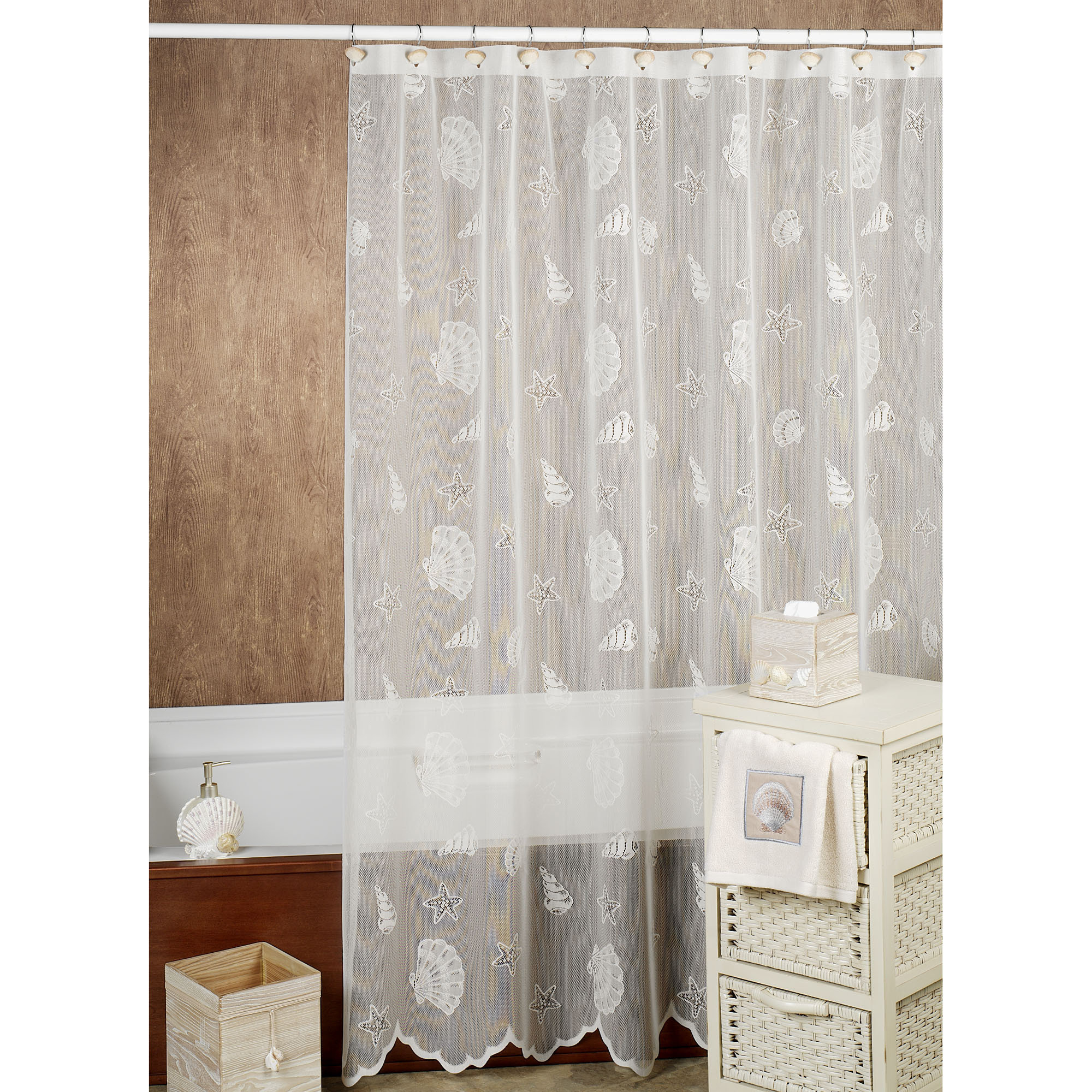 Incredible Brown To White Ruffled Extra Long Shower Curtain Added with sizing 2000 X 2000