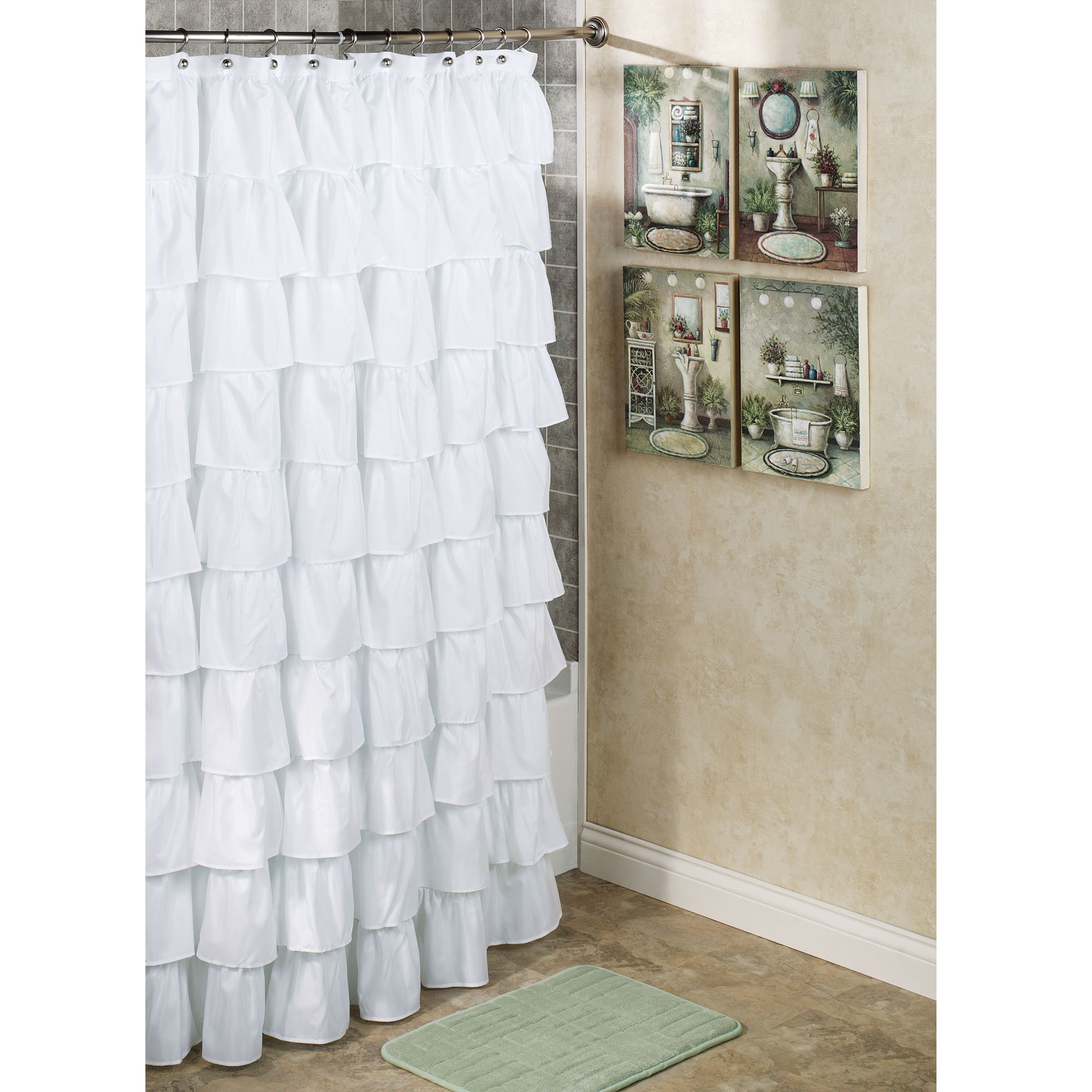 Incredible White Ruffled Extra Long Shower Curtain With Artwork with size 2000 X 2000