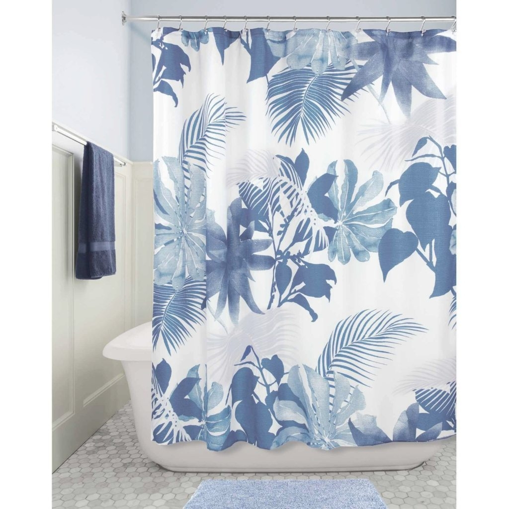 Interdesign Blue Watercolor Fern Fabric Shower Curtain Within with regard to proportions 1024 X 1024