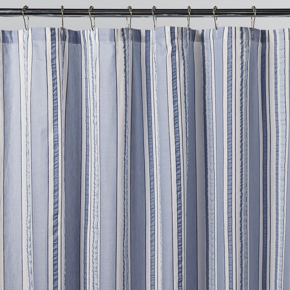 Interesting Design Blue And White Striped Shower Curtain for measurements 970 X 970
