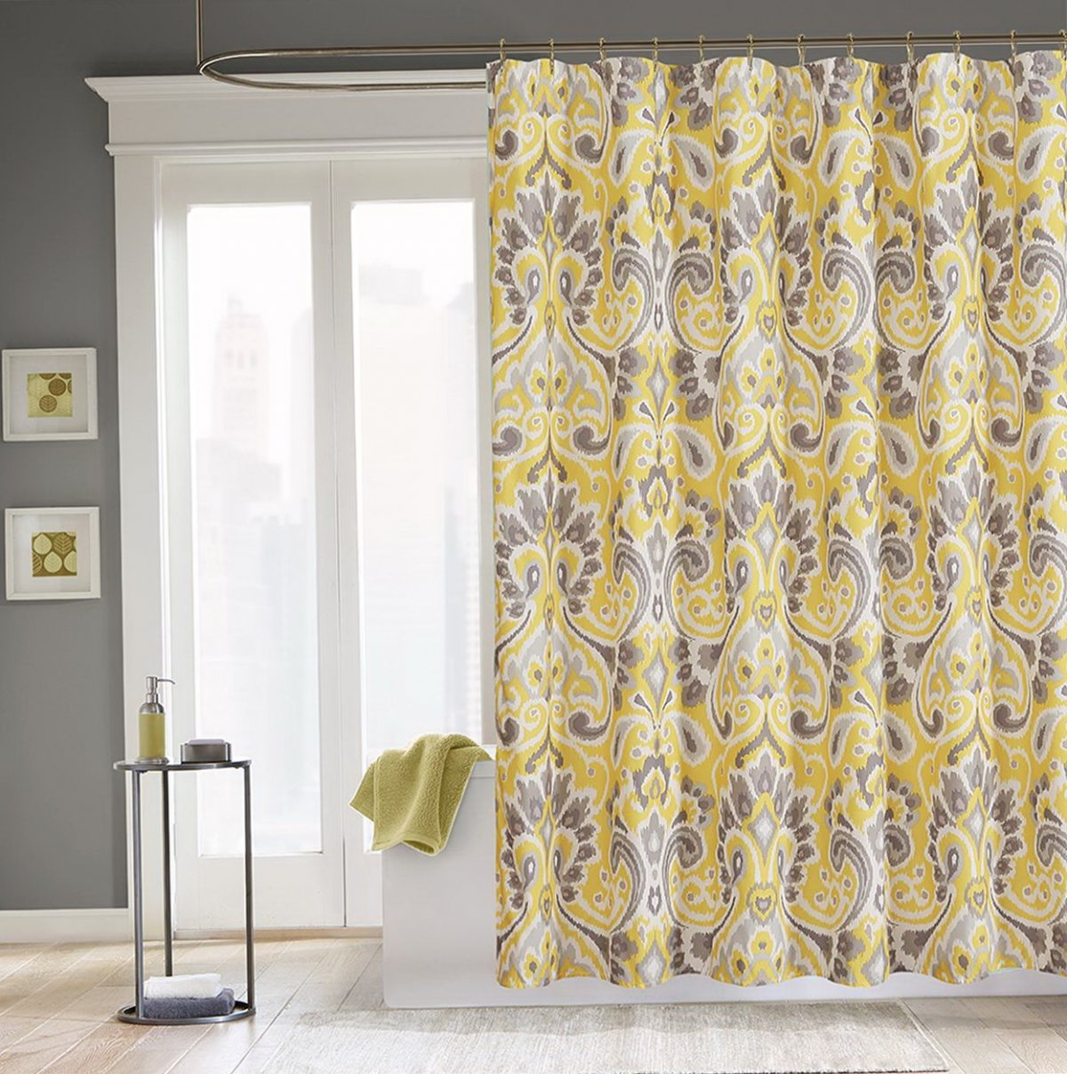 Gray And Yellow Bathroom Shower Curtains • Shower Curtains Ideas