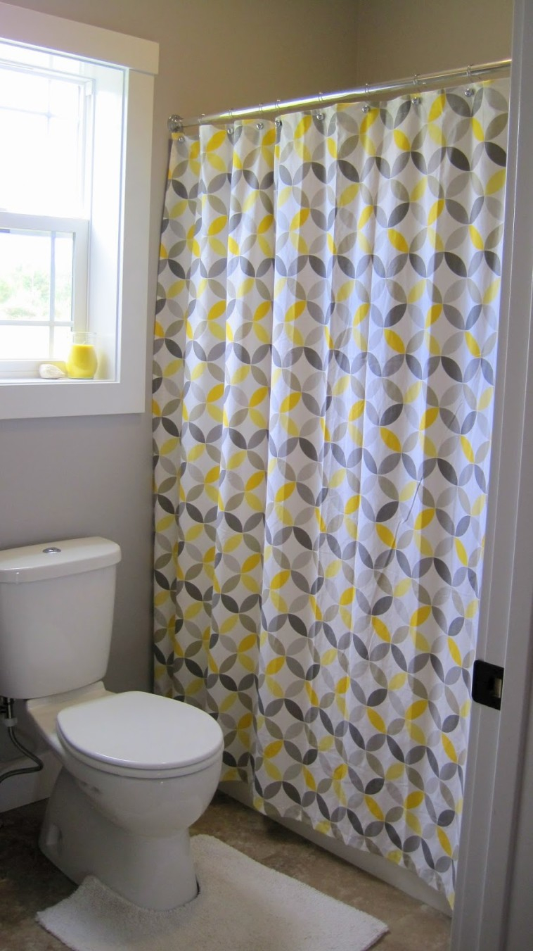 Pale Yellow And Gray Shower Curtain • Shower Curtains Ideas