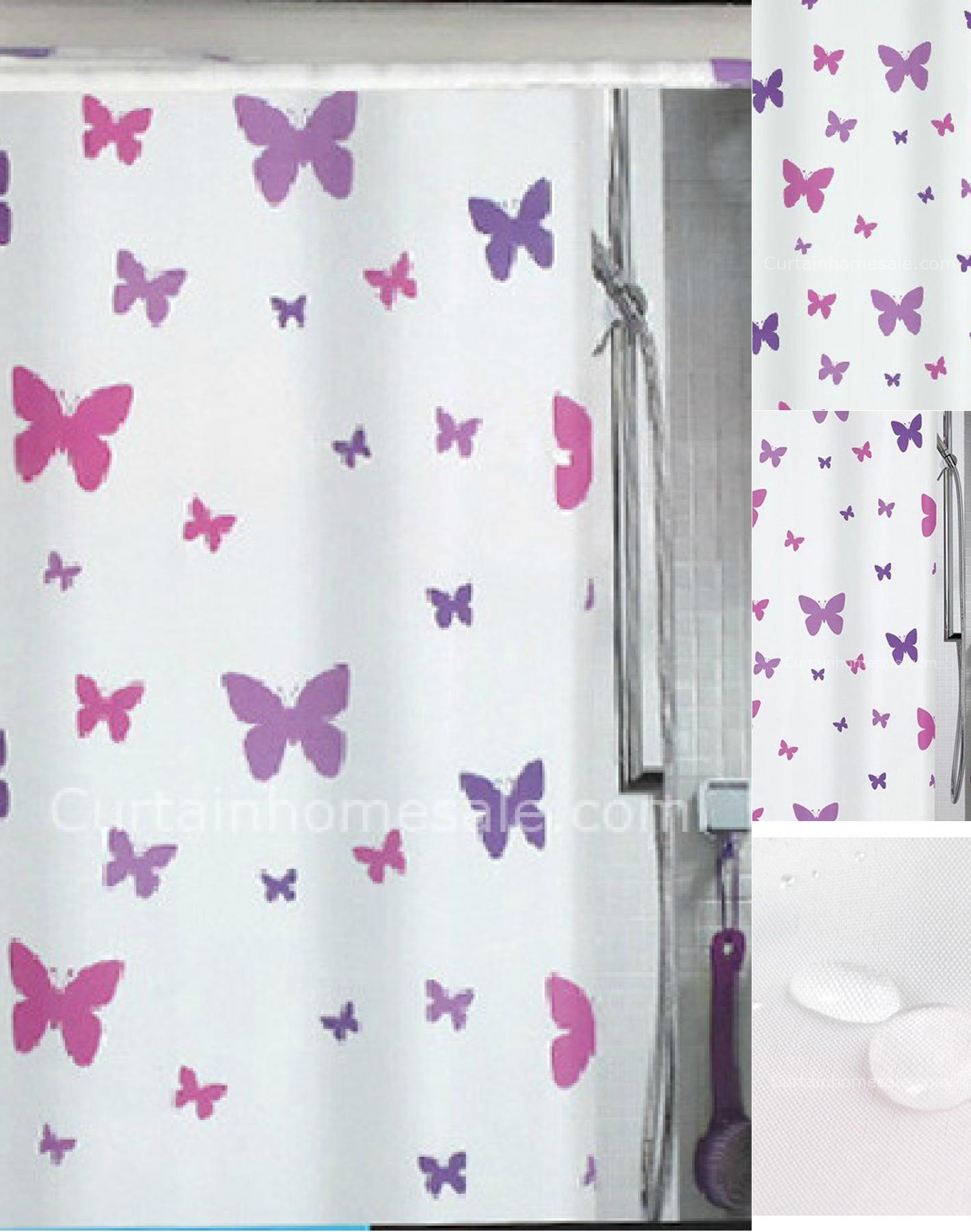 Interior White And Purple Fabric Butterfly Shower Curtain On The within measurements 1421 X 1802
