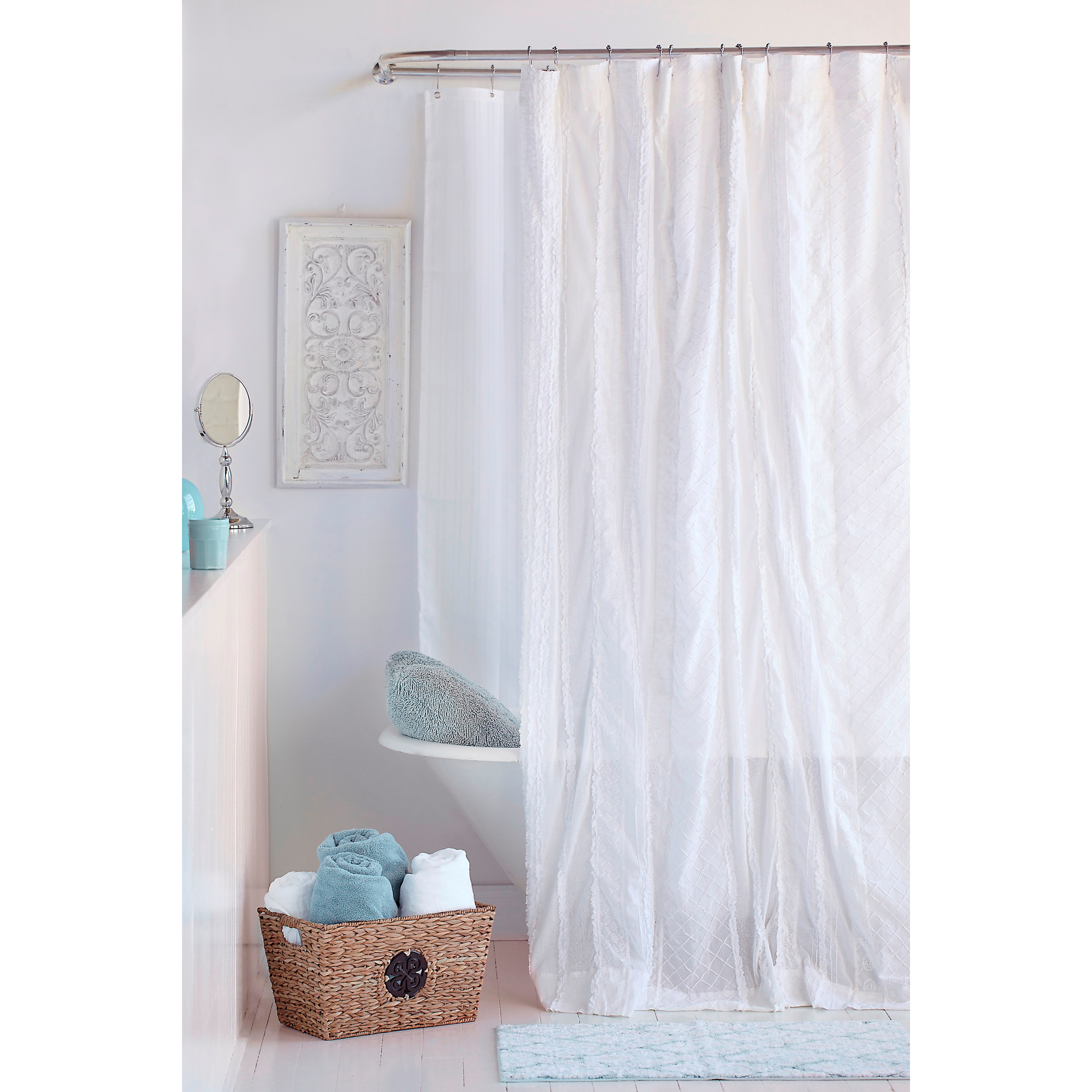 Interior White Cotton Shower Curtain On Stainless Steel Hook And pertaining to measurements 3492 X 3492