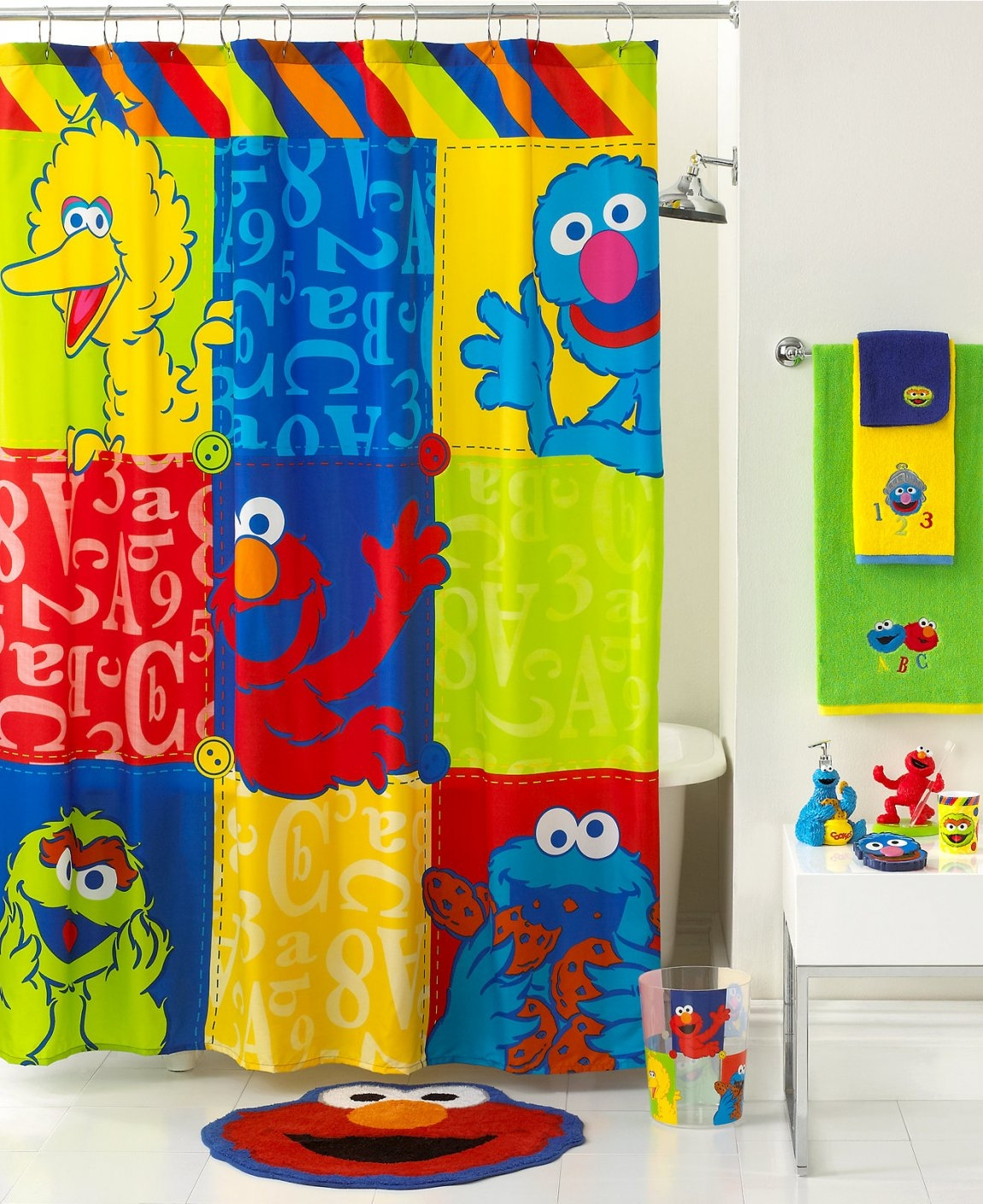 Jay Franco Sesame Street Shower Curtain Design Pertaining To Proportions 1150 X 1408