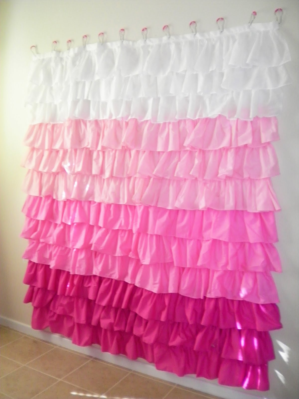Pink And White Ruffle Shower Curtain • Shower Curtains Ideas