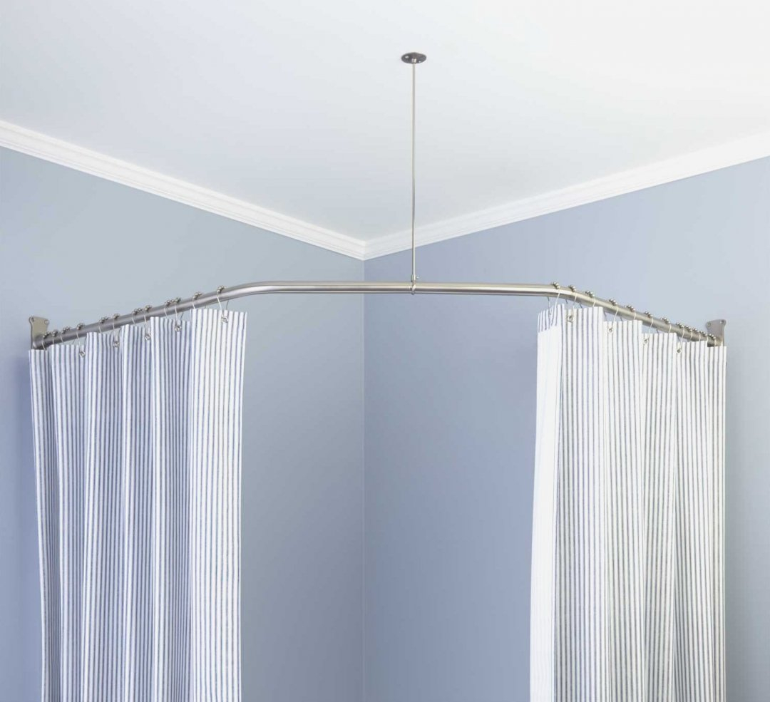 Corner Shower Curtain Rod Without Ceiling Support • Shower Curtains ...