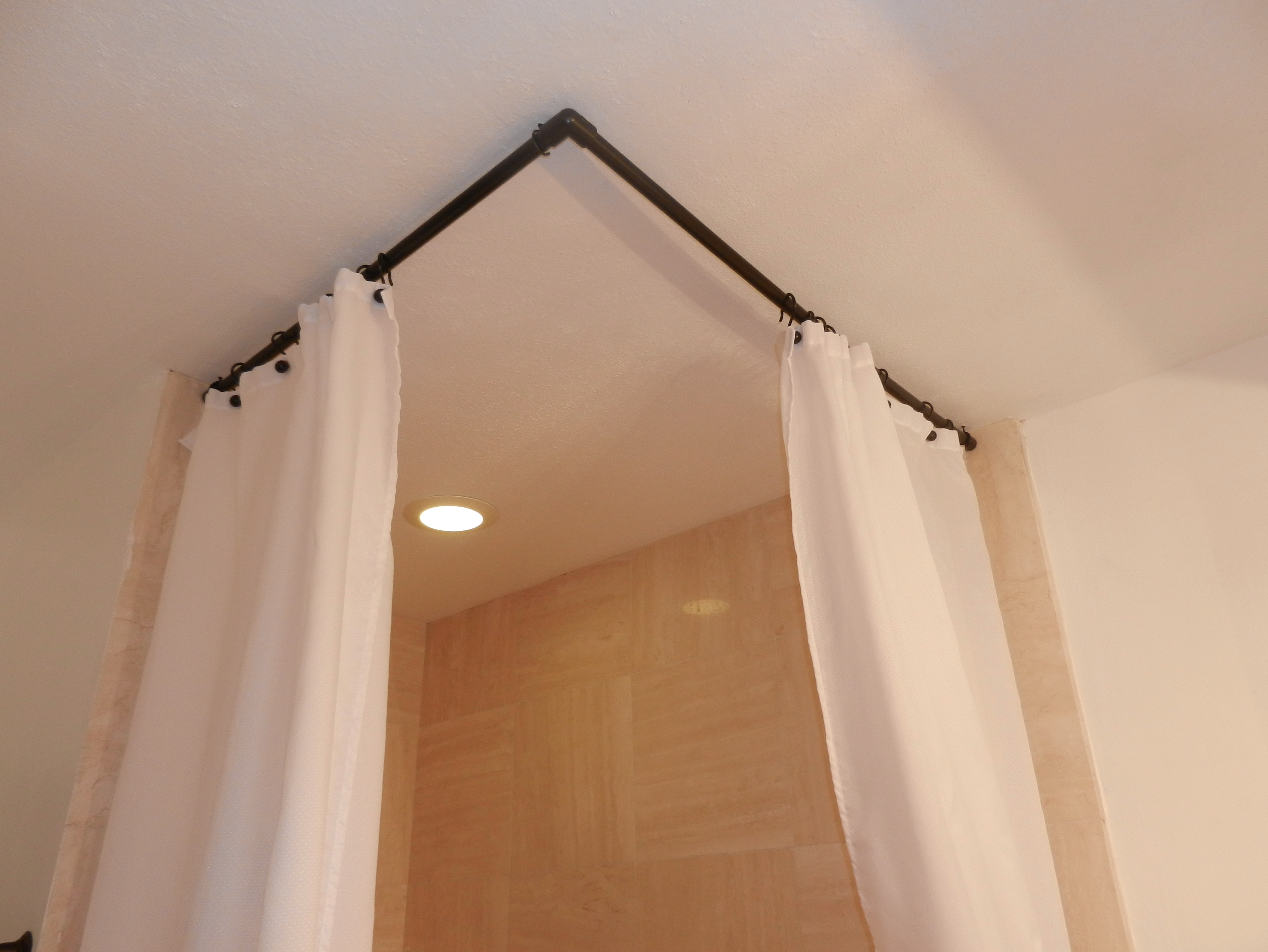 L Shaped Shower Curtain Rod Without Ceiling Support Designs