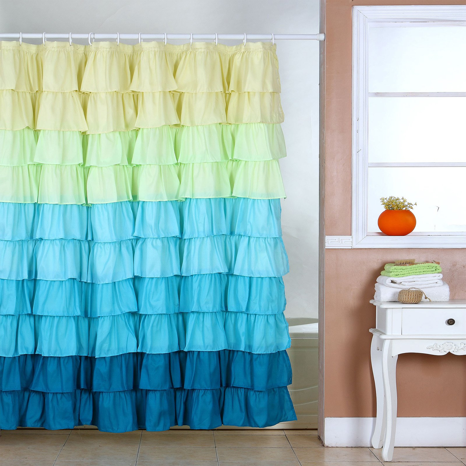 Lavish Home Spring Ruffle Shower Curtain Walmart within size 1600 X 1600