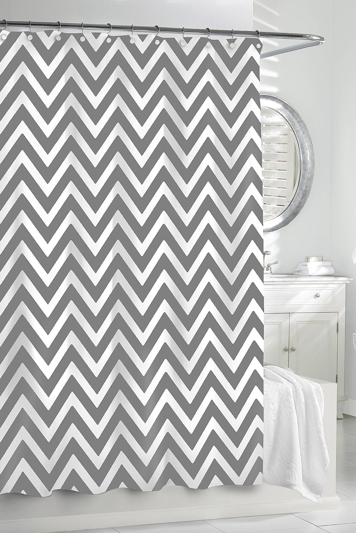 Magnificent Ideas Gray Chevron Shower Curtain Well Suited Design within size 1200 X 1798