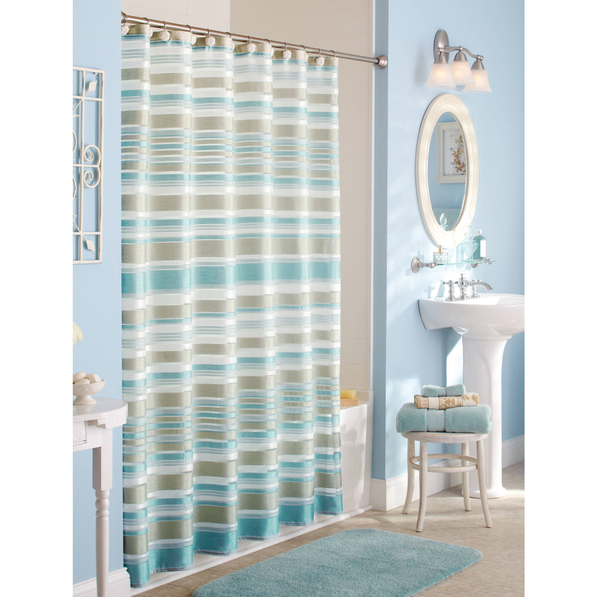 Green White Striped Shower Curtain Shower Curtains Ideas