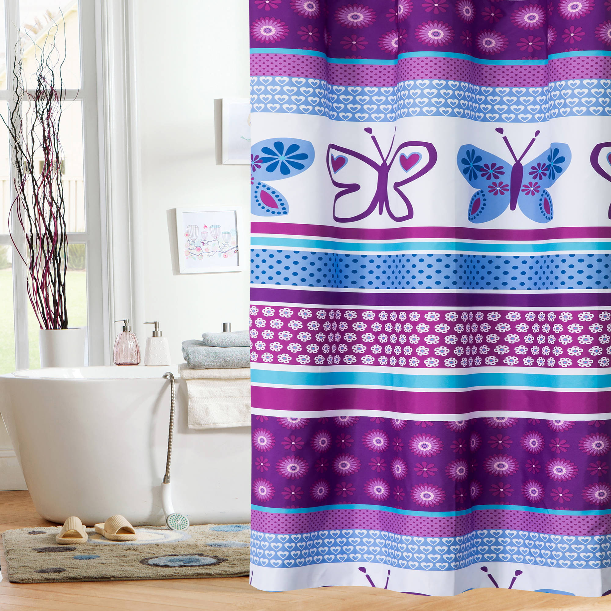 Mainstays Kids Purple Butterfly Shower Curtain Walmart within size 2000 X 2000