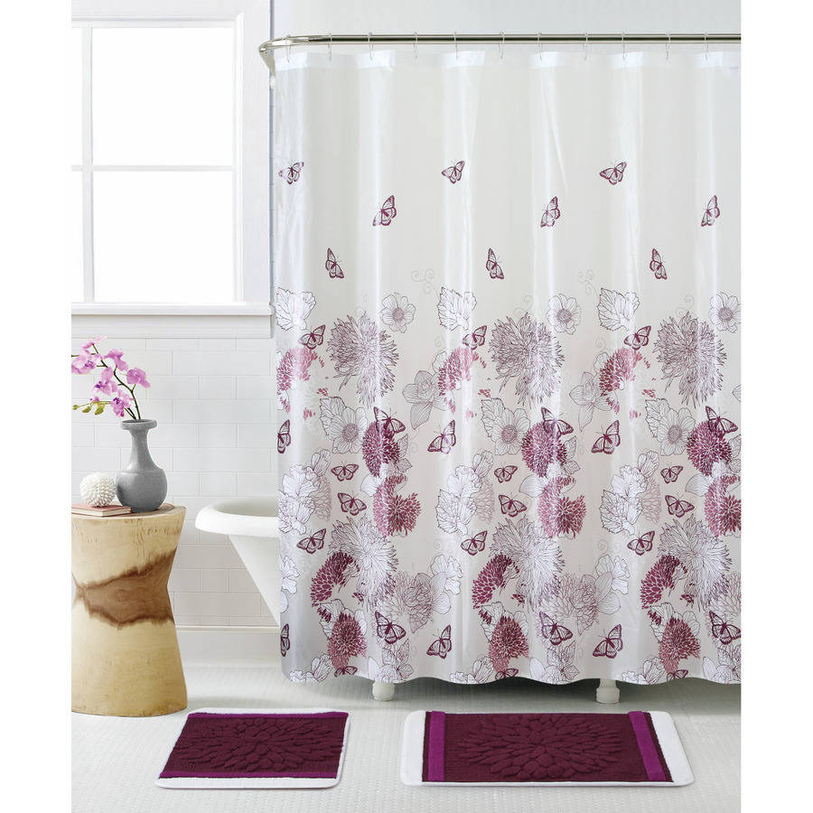 Mainstays Sylvia Fabric Shower Curtain Walmart With Regard To Dimensions 900 X