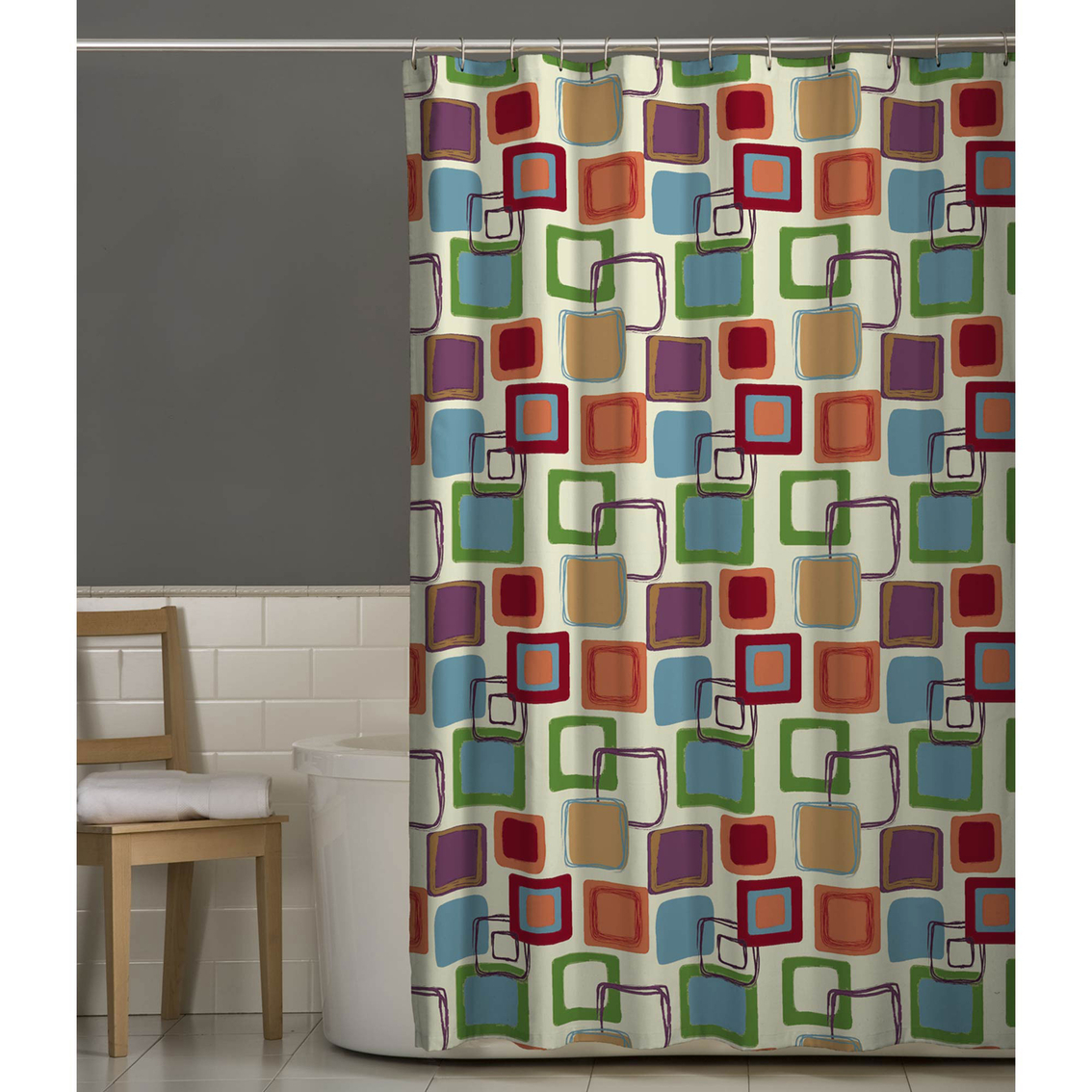 Maytex Squares Multicolor Fabric Shower Curtain Shower Curtains for proportions 1134 X 1134
