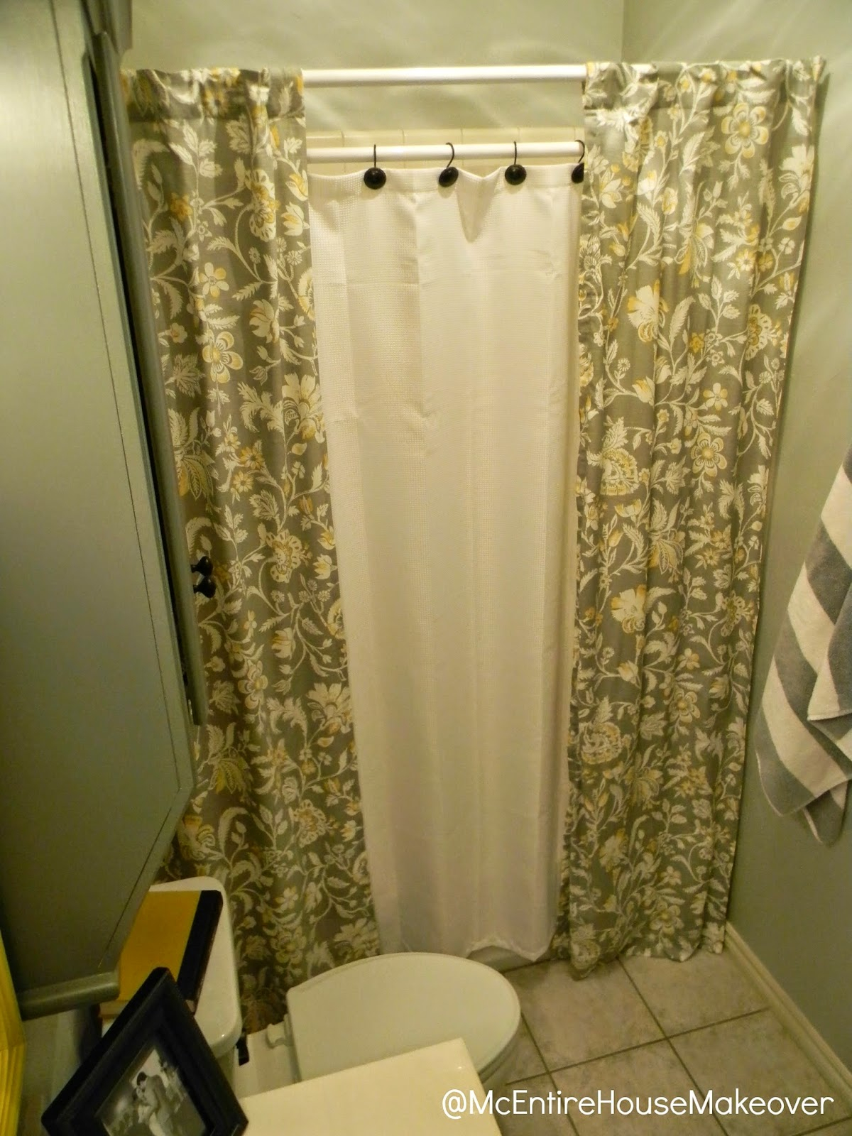 Mcentire House Makeover Making 2 Shower Curtain Panels Out Of 1 Inside Size 1200 X 1600