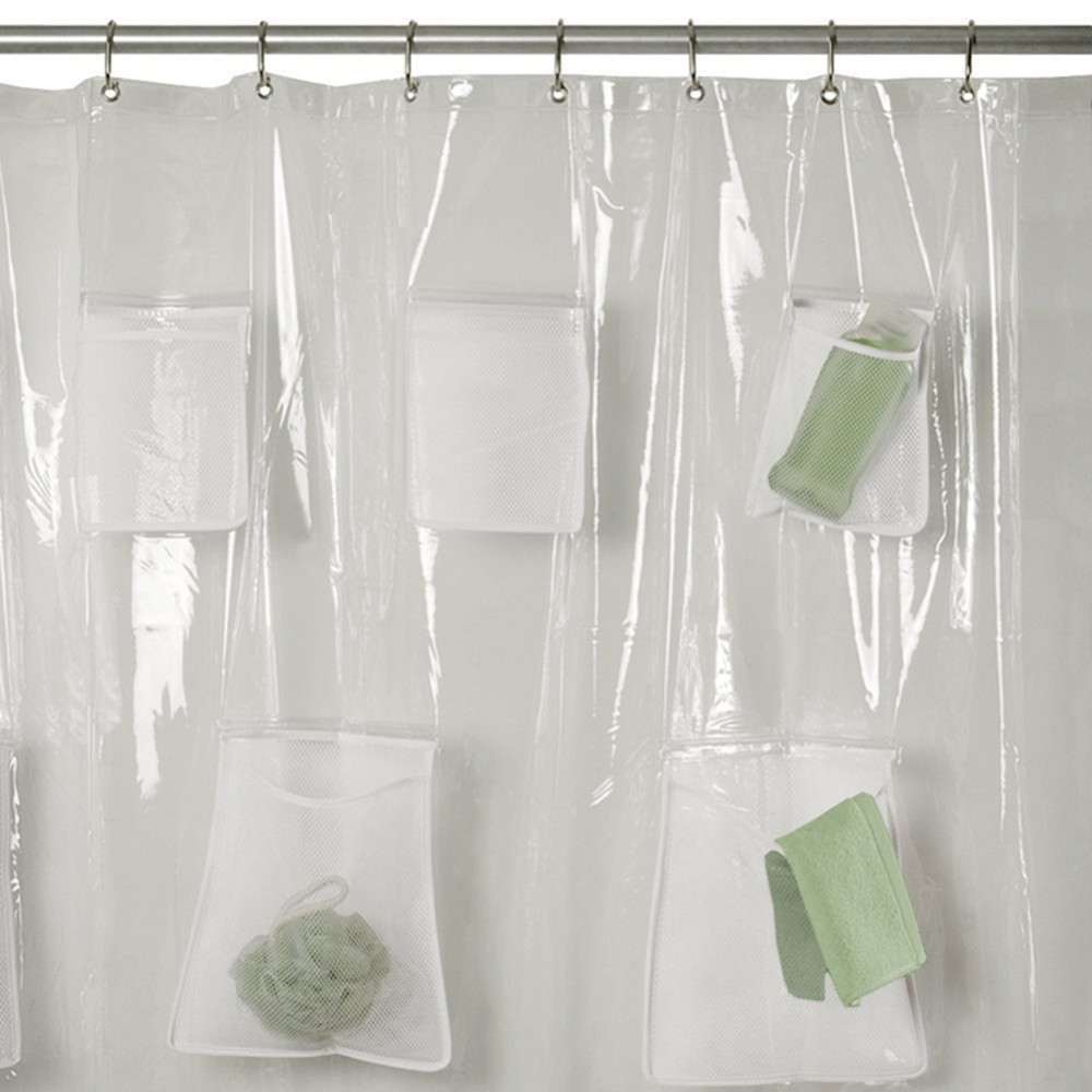 Mesh Pockets Peva Shower Curtain Clear Multi Purpose Bathroom With Regard  To Proportions 1000 X 1000