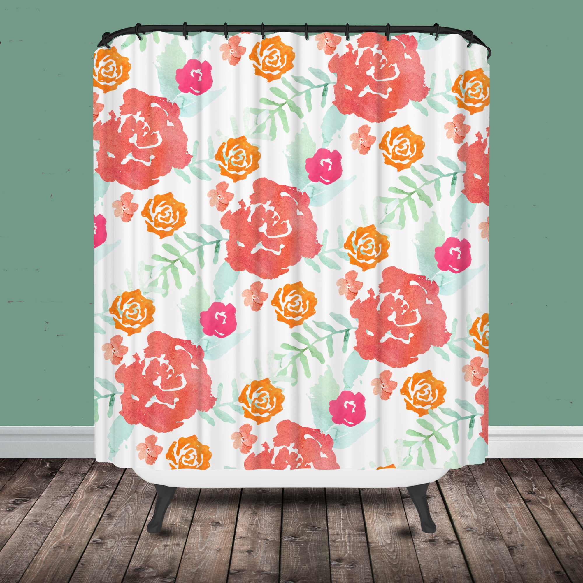 Red Floral Shower Curtain • Shower Curtains Ideas