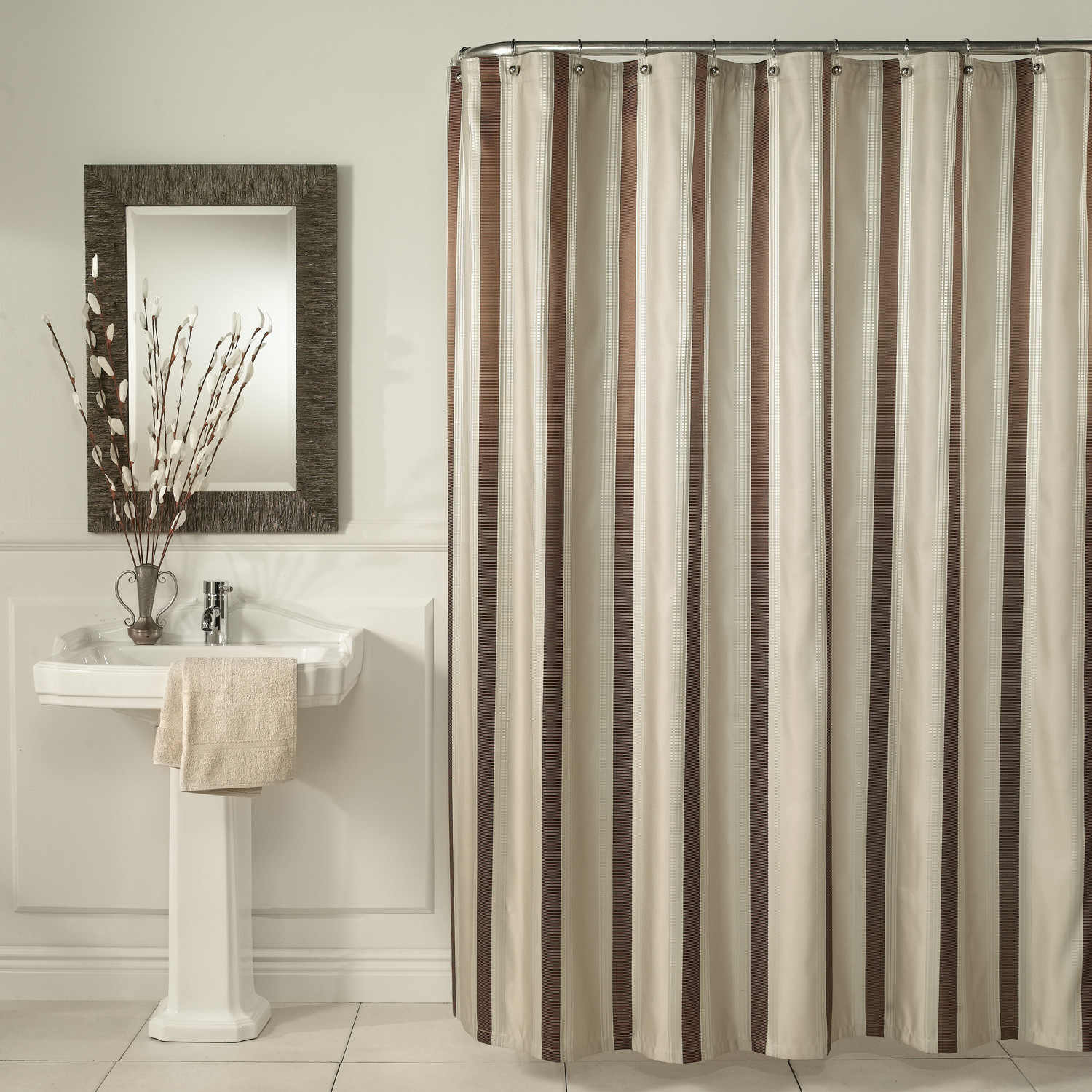 Brown And White Horizontal Striped Shower Curtains • Shower Curtains ...