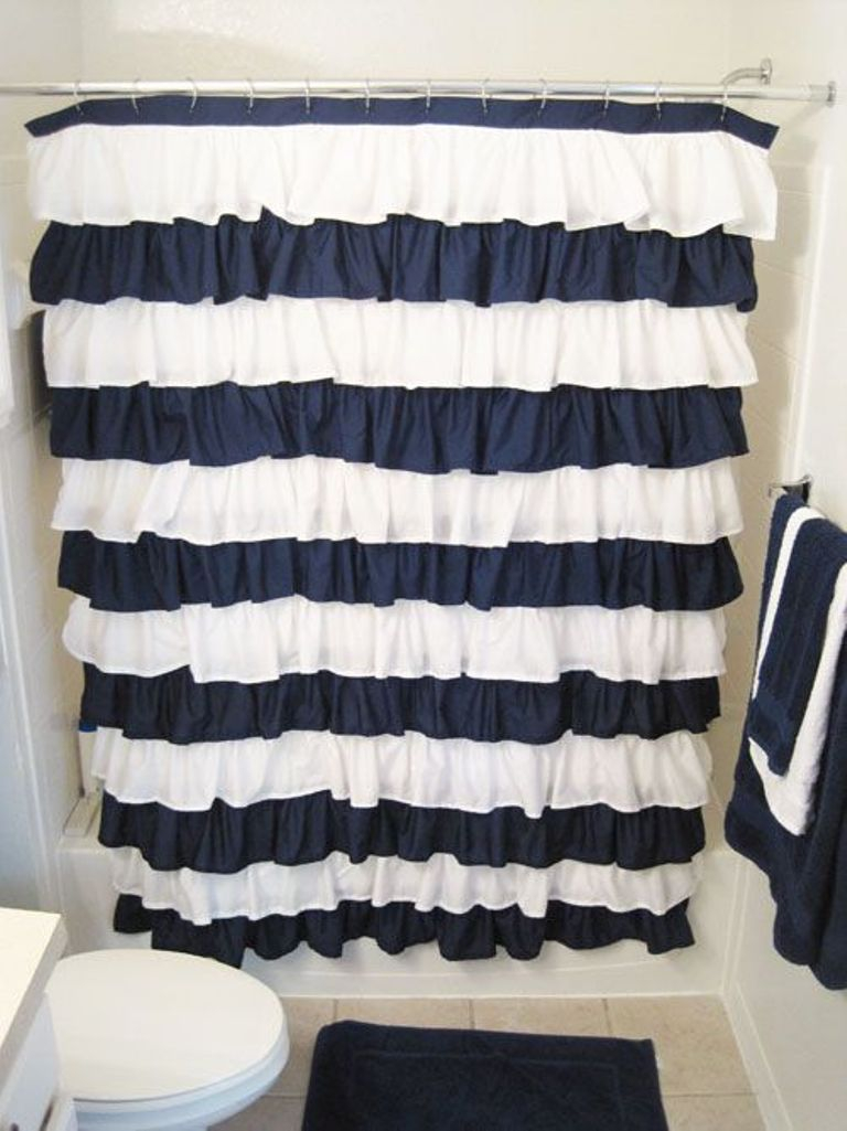 Navy And White Shower Curtain With Rug And Towel Shelf And Sink within measurements 768 X 1025