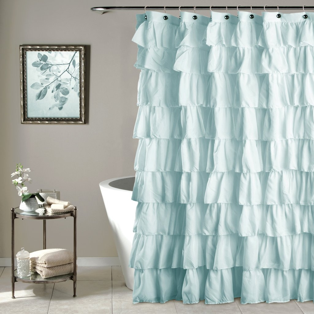 Navy Blue Ruffle Shower Curtain Design With Regard To Proportions 1024 X