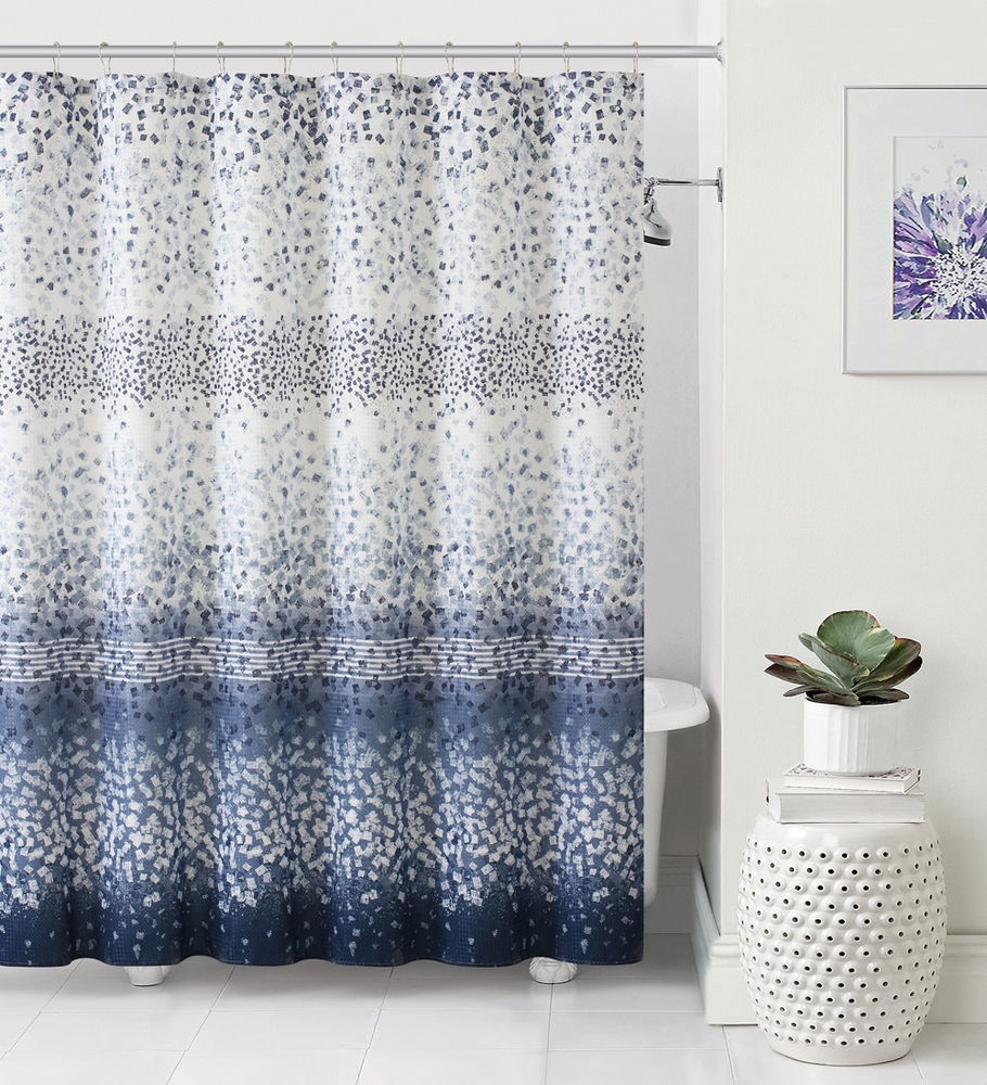 Navy Blue Vinyl Shower Curtain Liner Shower Curtain for size 910 X 1000