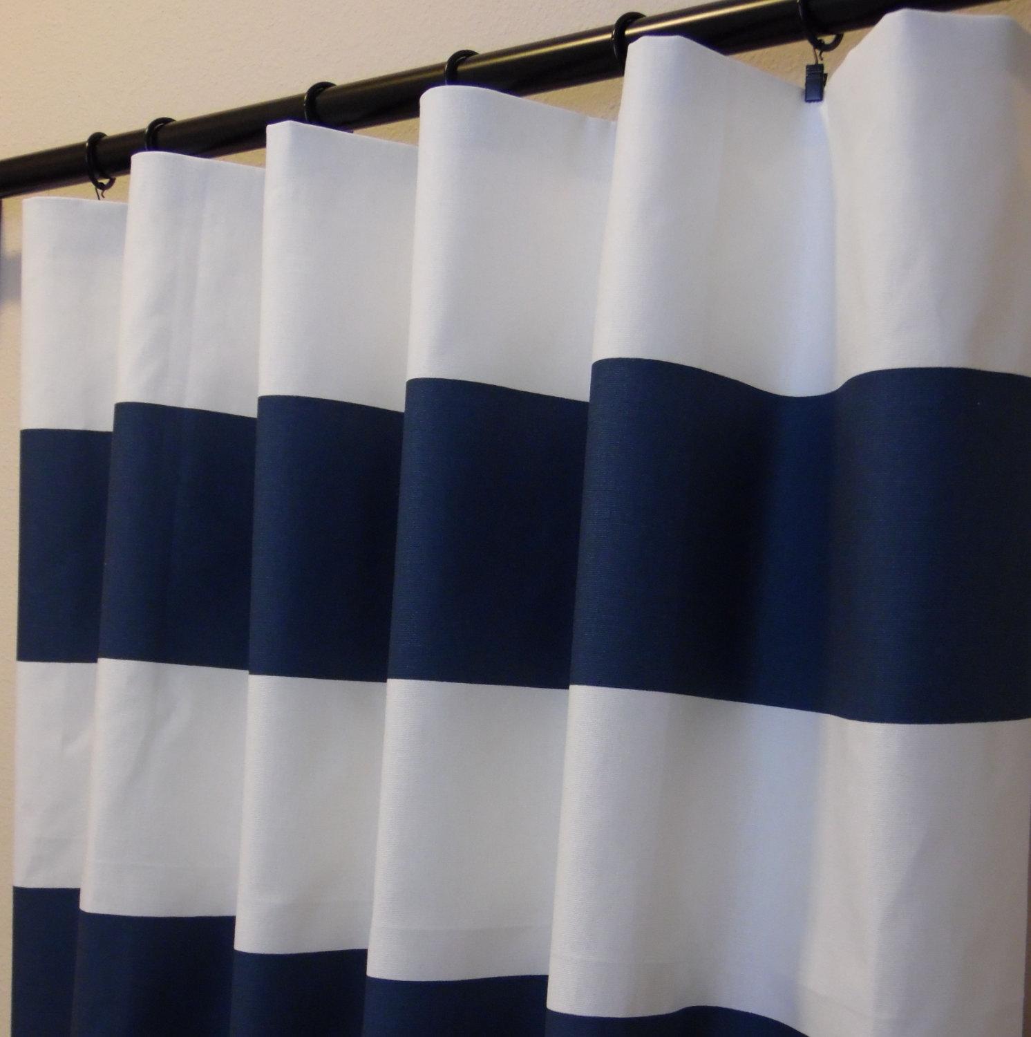 Breathtaking Navy Blue And White Striped Shower Curtain