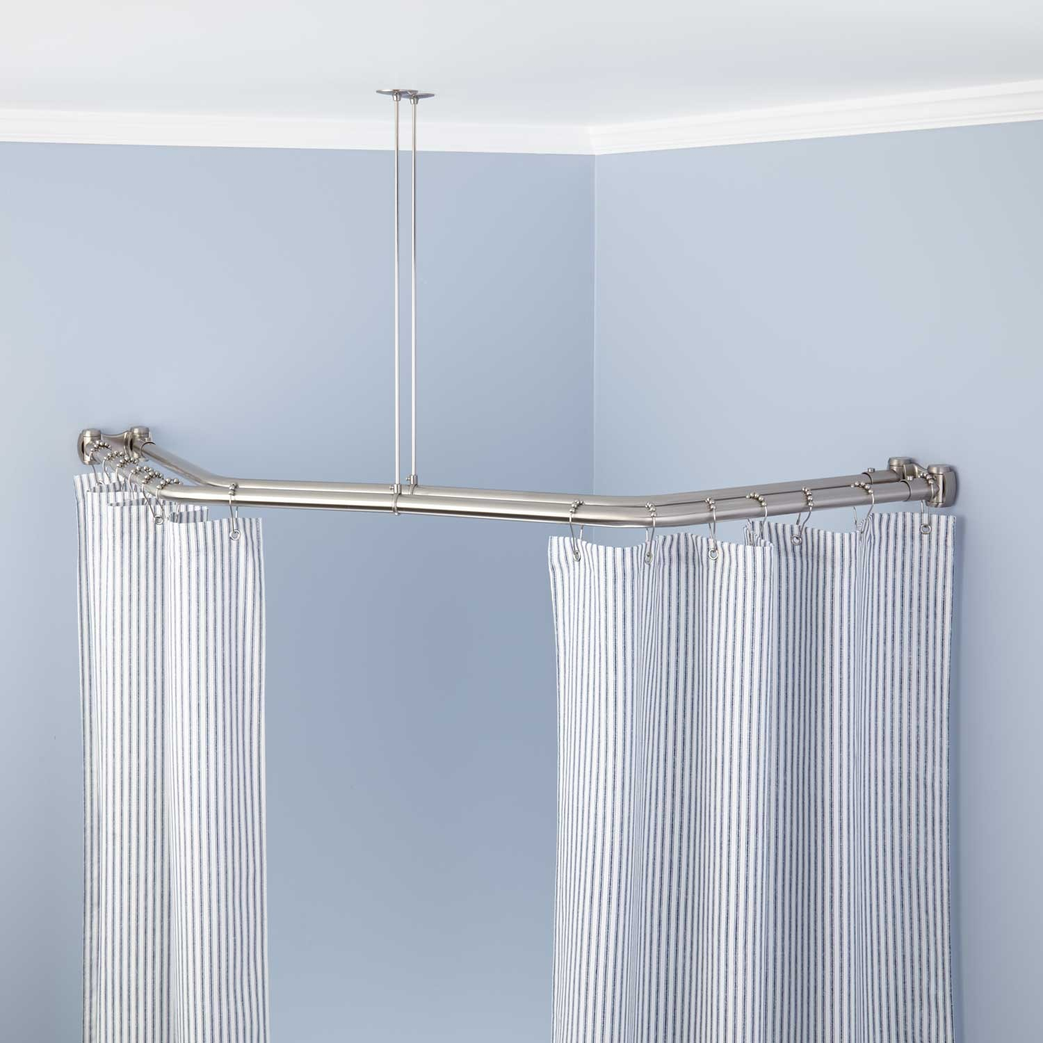 windows and corner window curtains curtain rod hanging x rods wall decor