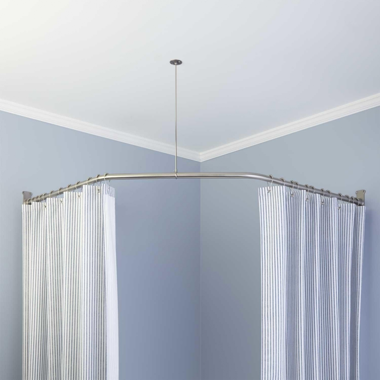Neo Angle Shower Rod And Ceiling Support With Shower Curtain And pertaining to sizing 1470 X 1470