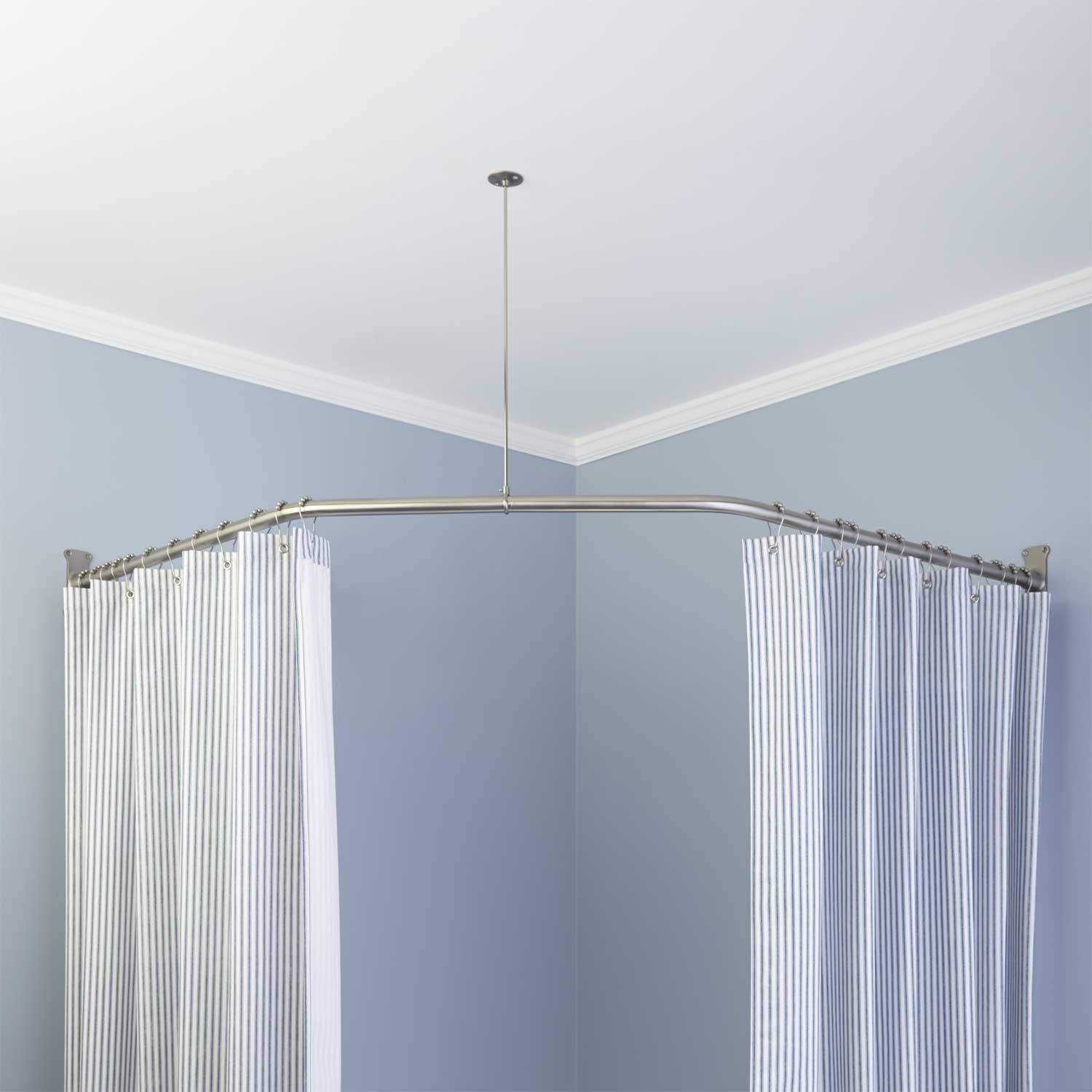 Neo Angle Solid Brass Shower Rod And Ceiling Support Bathroom inside measurements 1500 X 1500