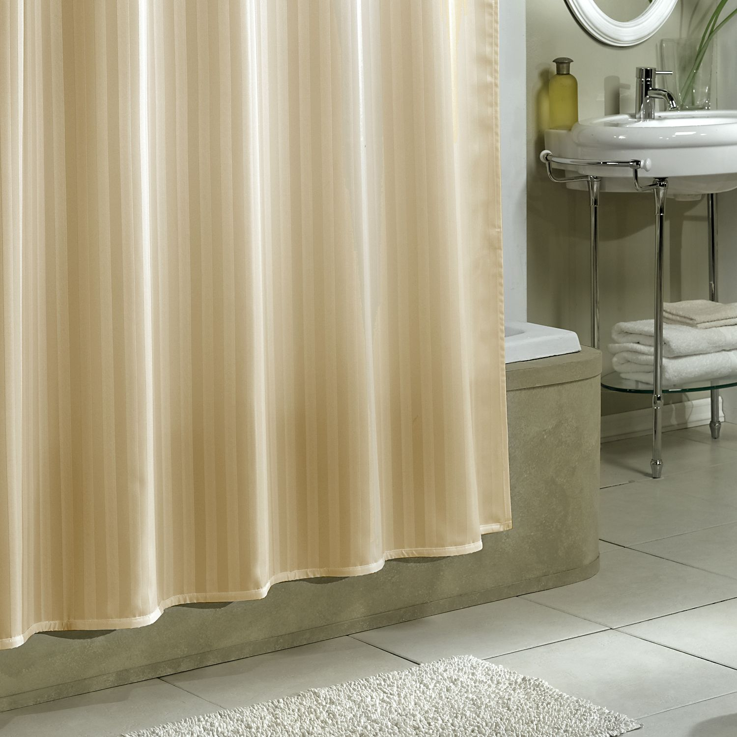 Nice Stripe Fabric Extra Long Shower Curtain Liner With Chrome regarding measurements 1500 X 1500