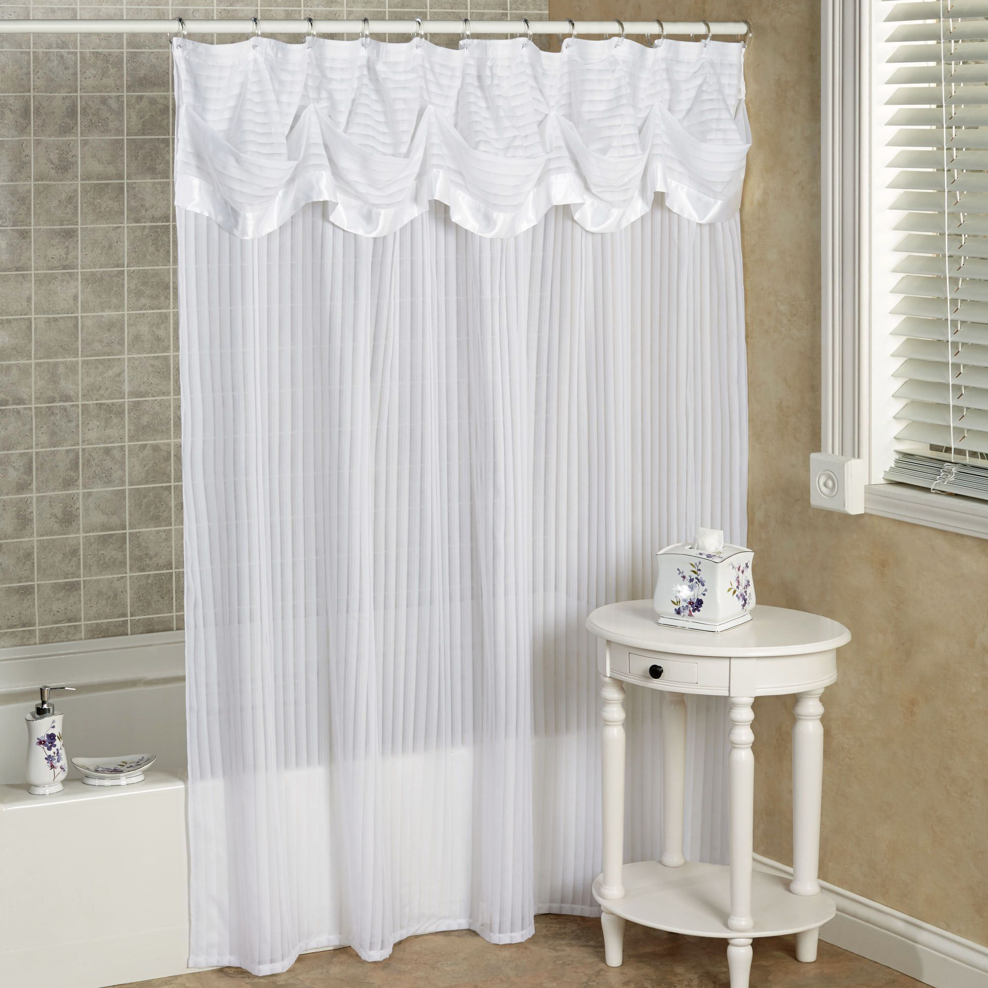 Lace Shower Curtain With Attached Valance • Shower Curtains Ideas