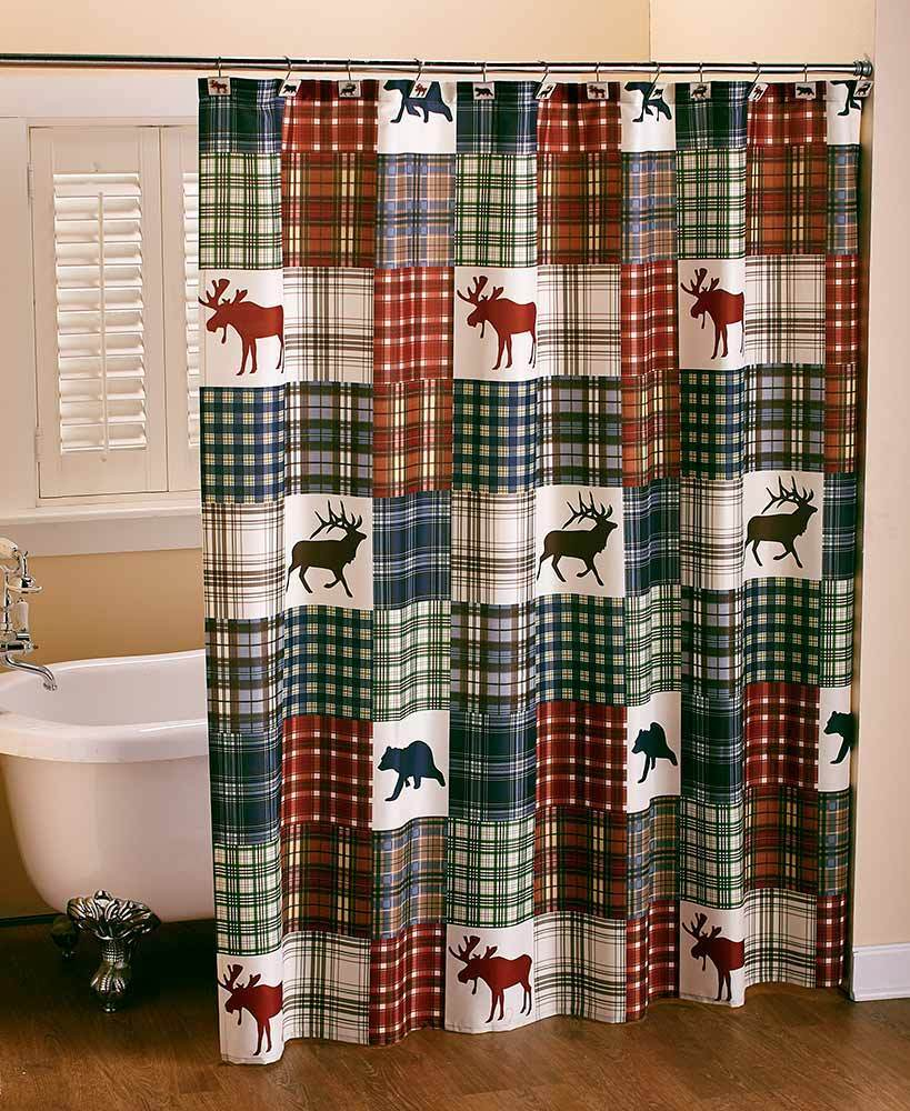 Northwoods Woodland Lodge Shower Curtain Dear Bear Patchwork Plaid regarding size 819 X 1000