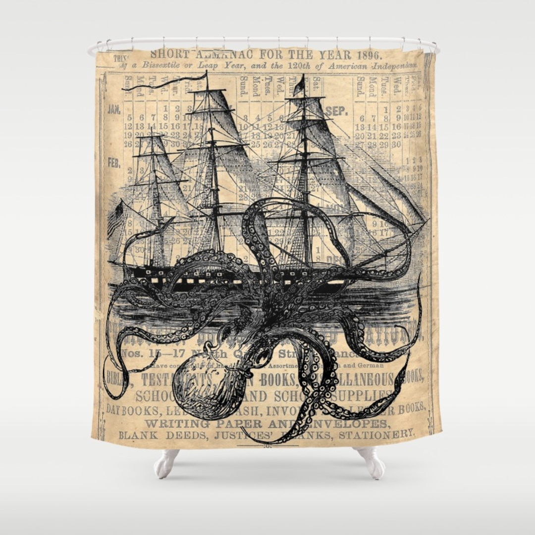 Octopus Pirate Ship Shower Curtain Design Pertaining To Measurements 1080 X