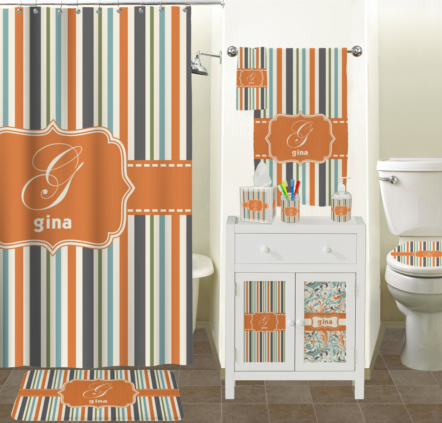 Orange Blue Stripes Shower Curtain Personalized Potty Intended For Size  1500 X 1436
