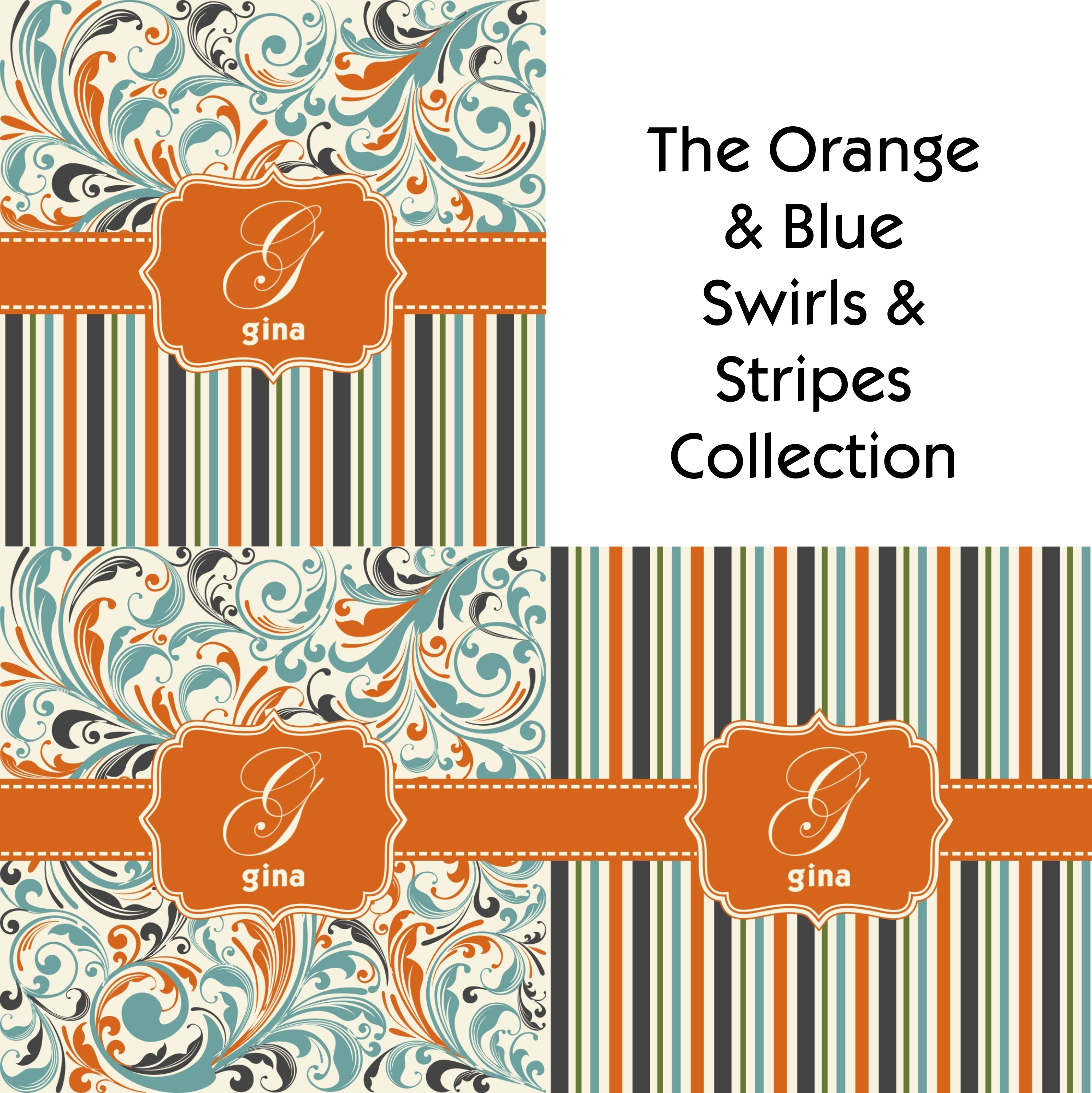Orange Blue Stripes Shower Curtain Personalized Potty With Proportions 3000  X 3002