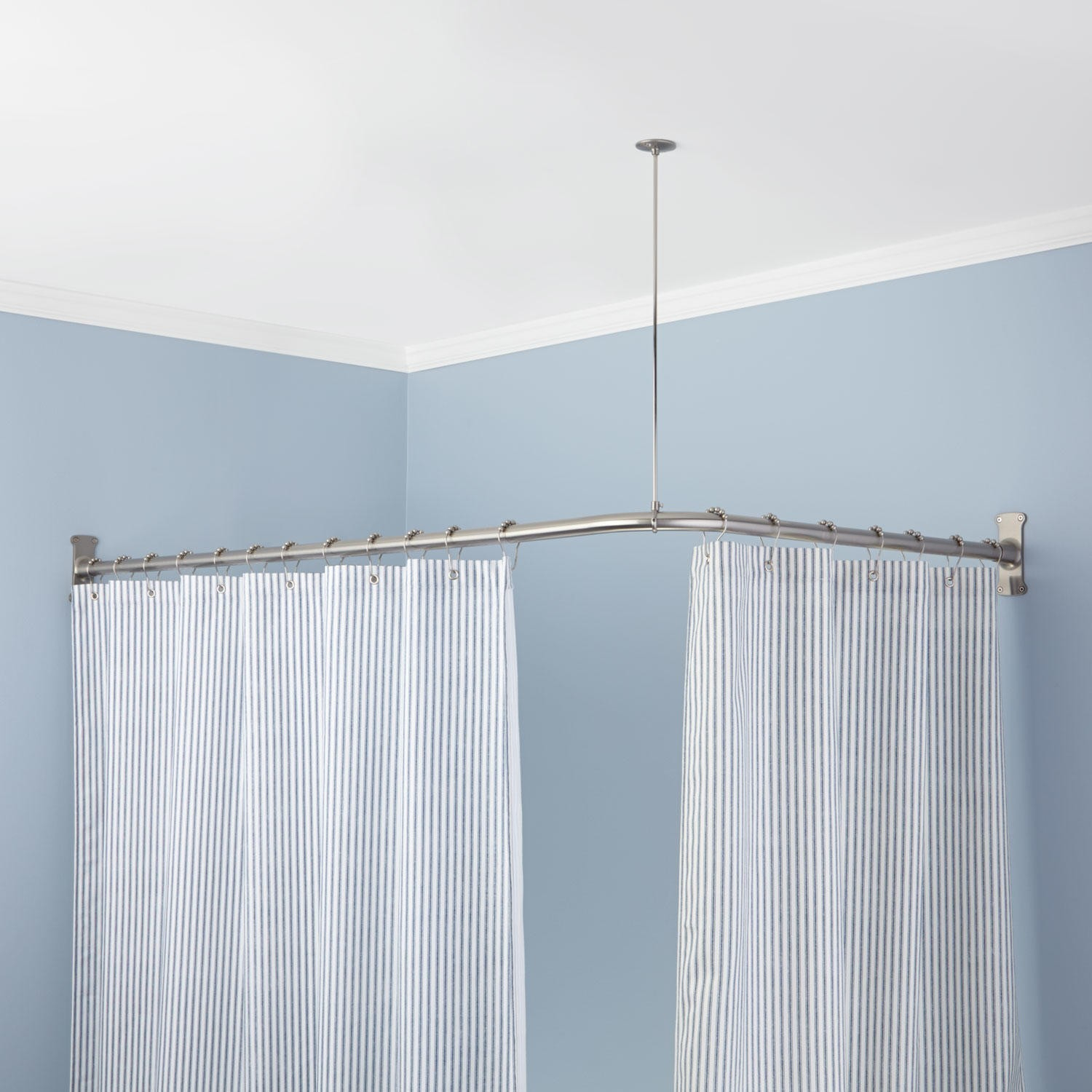 Oval Shower Curtain Rod Nickel The Homy Design Nice Oval with regard to sizing 1500 X 1500