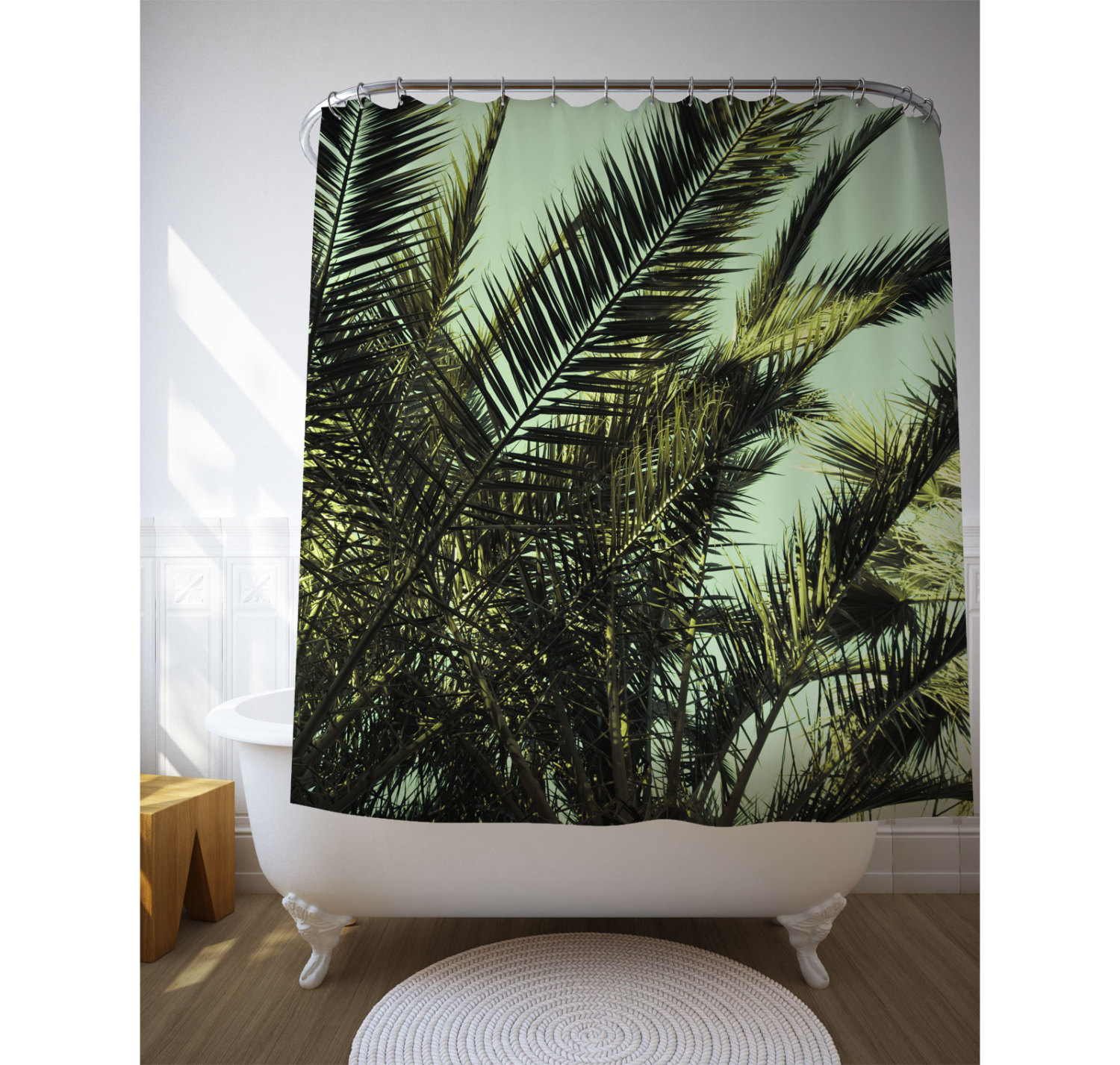 Palm Leaf Shower Curtain Bath Accessories Tropical throughout sizing 1500 X 1427