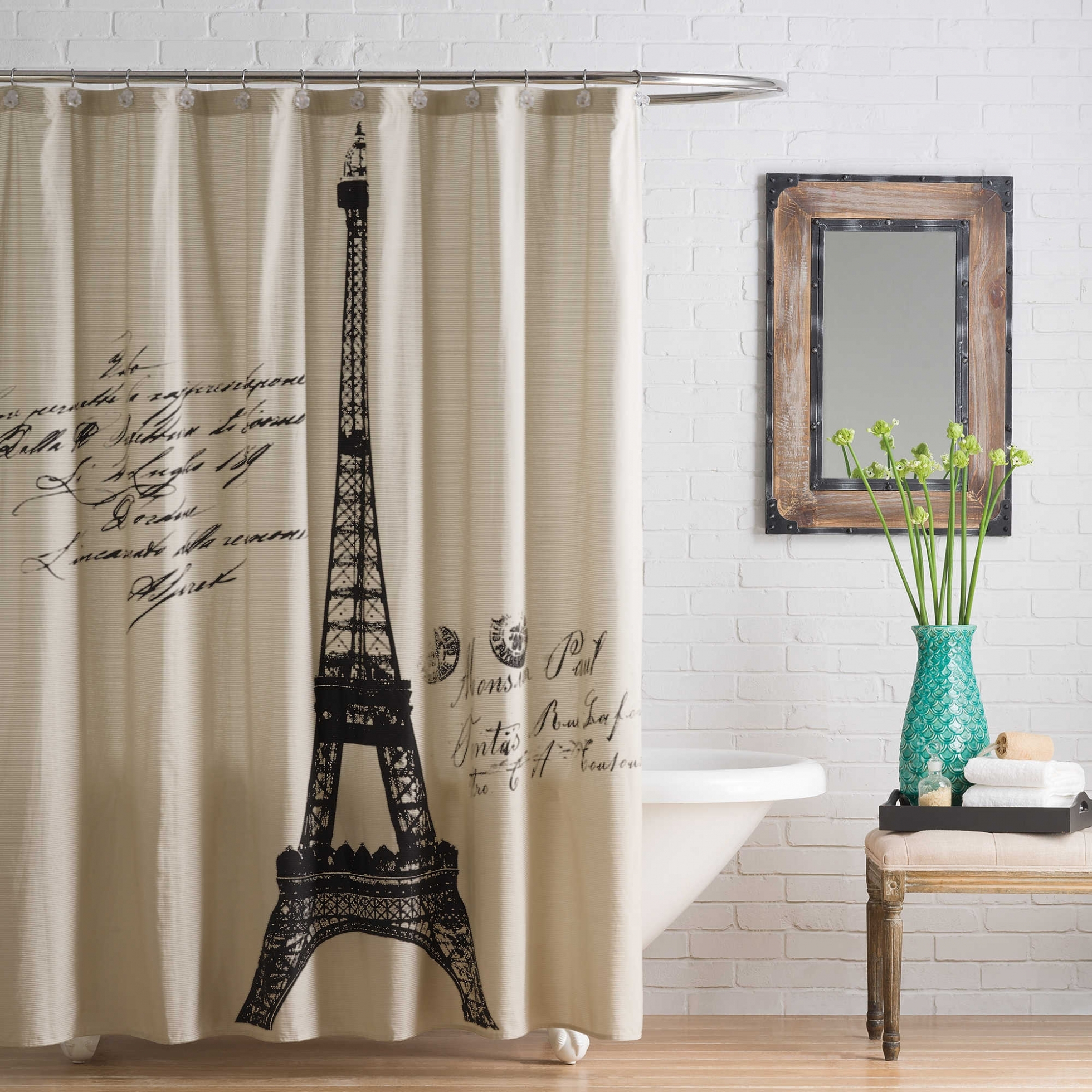 Paris Themed Bathroom Shower Curtain Design Pertaining To Proportions 1960 X