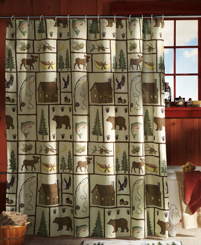 Picturesque Northwoods Woodland Bathroom Shower Curtain W Rings Of within size 823 X 1001