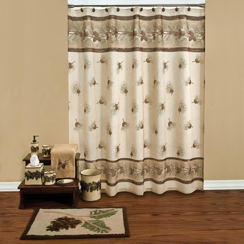 Pine Cone Grove Shower Curtain Collection Cabin Place within size 1001 X 1001