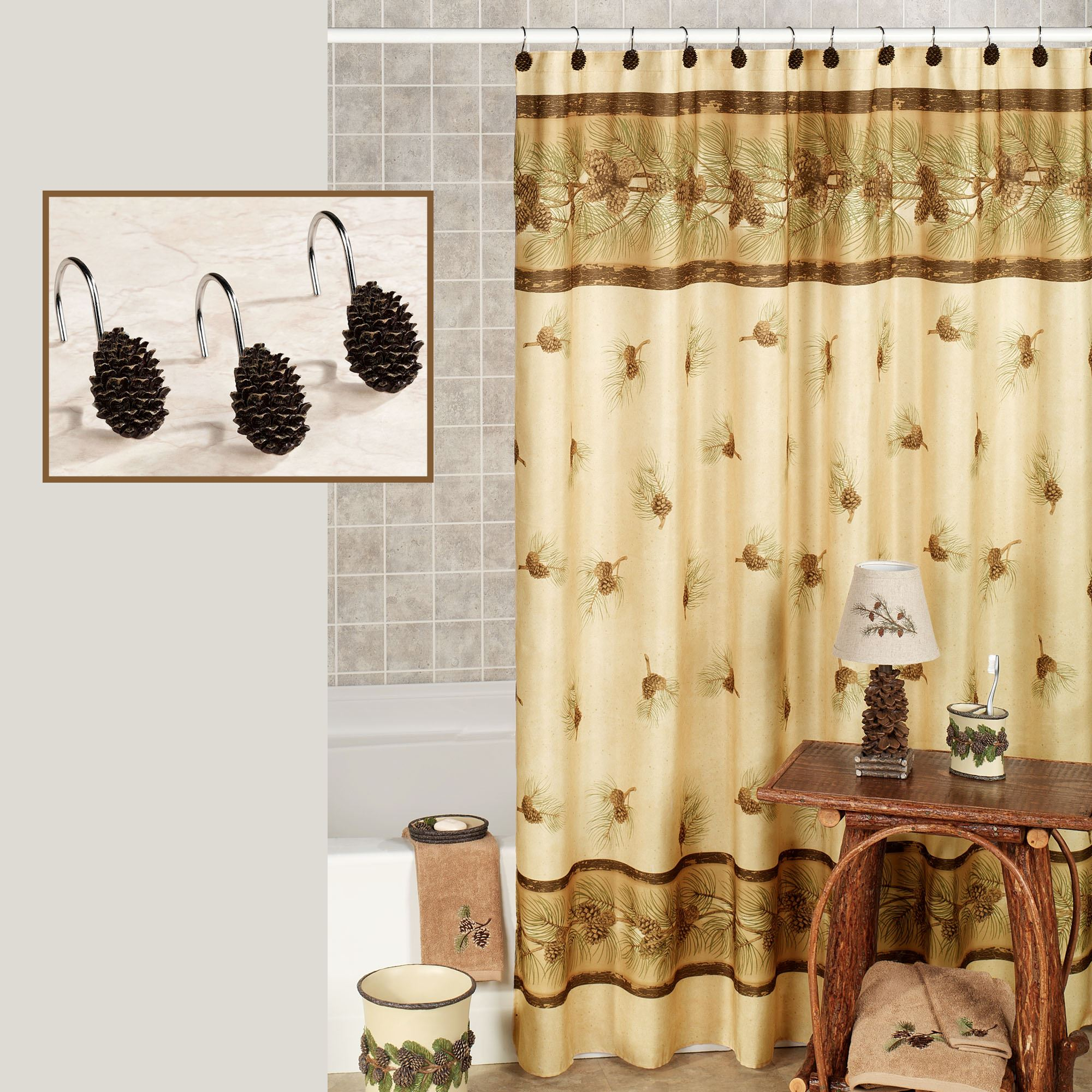 curtains navy shower bathroom and cotton pin bath blocking blend s features sets curtain the add classic color contemporary stripe izod your contrasting bold with to white