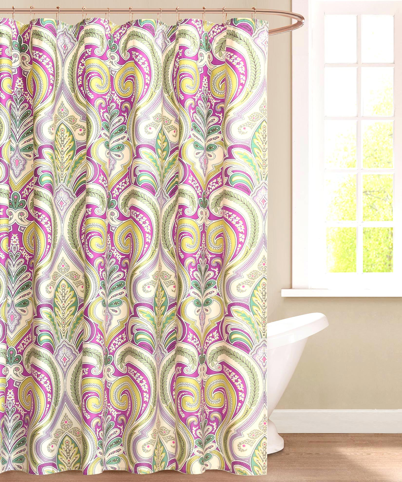 Pink And Brown Paisley Shower Curtain Shower Curtains Design inside sizing 1650 X 1980