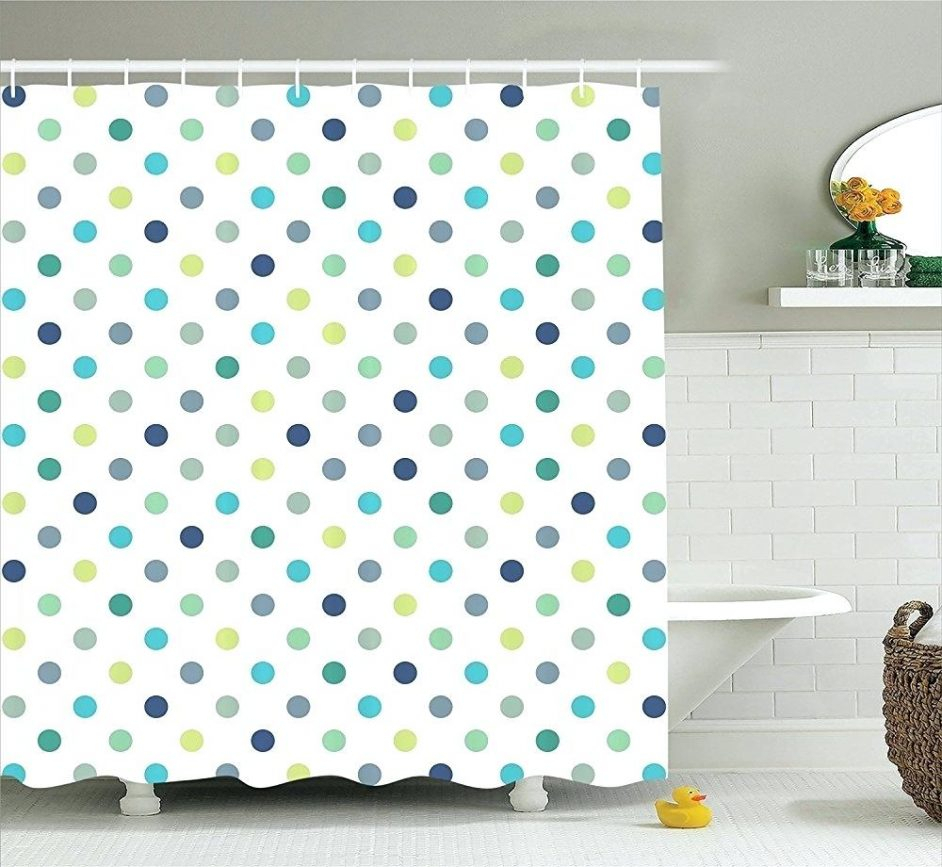 Pink And Green Polka Dot Shower Curtain Shower Curtains Design within measurements 942 X 867