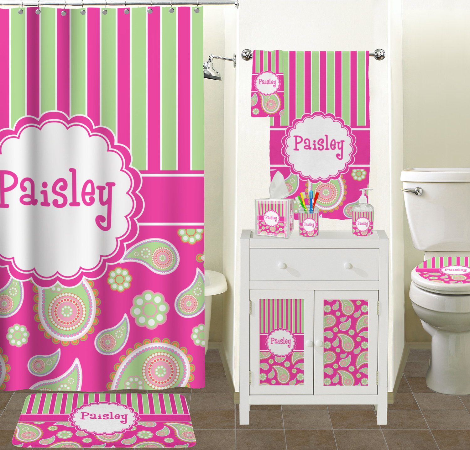 Pink Green Paisley And Stripes Shower Curtain Personalized inside dimensions 1500 X 1436