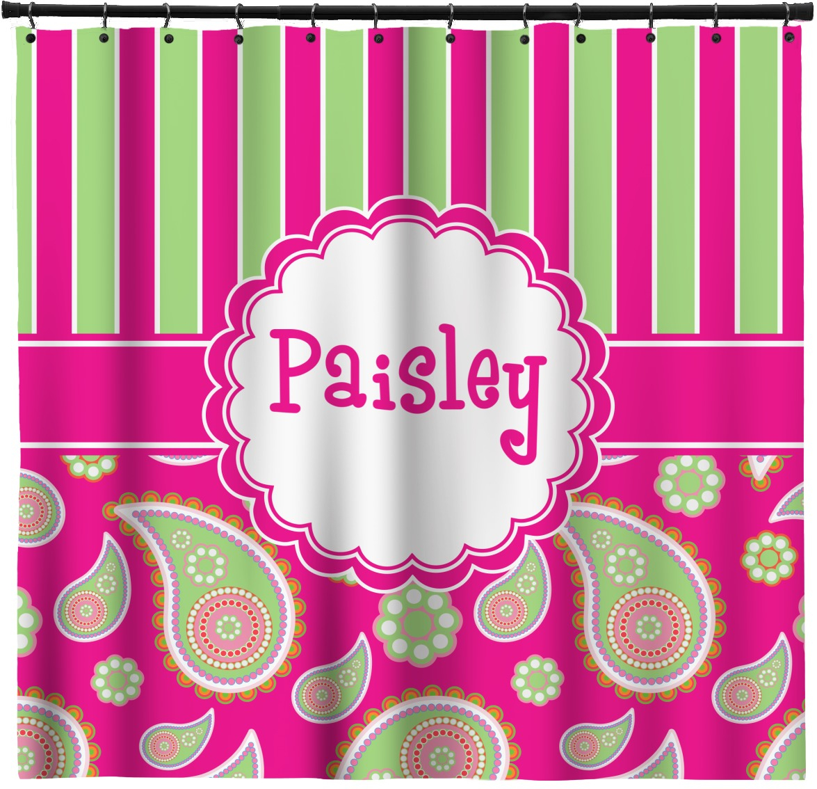 Pink Green Paisley And Stripes Shower Curtain Personalized pertaining to size 1175 X 1134