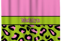 Pink Lime Green Leopard Shower Curtain Personalized Potty with dimensions 1175 X 1134
