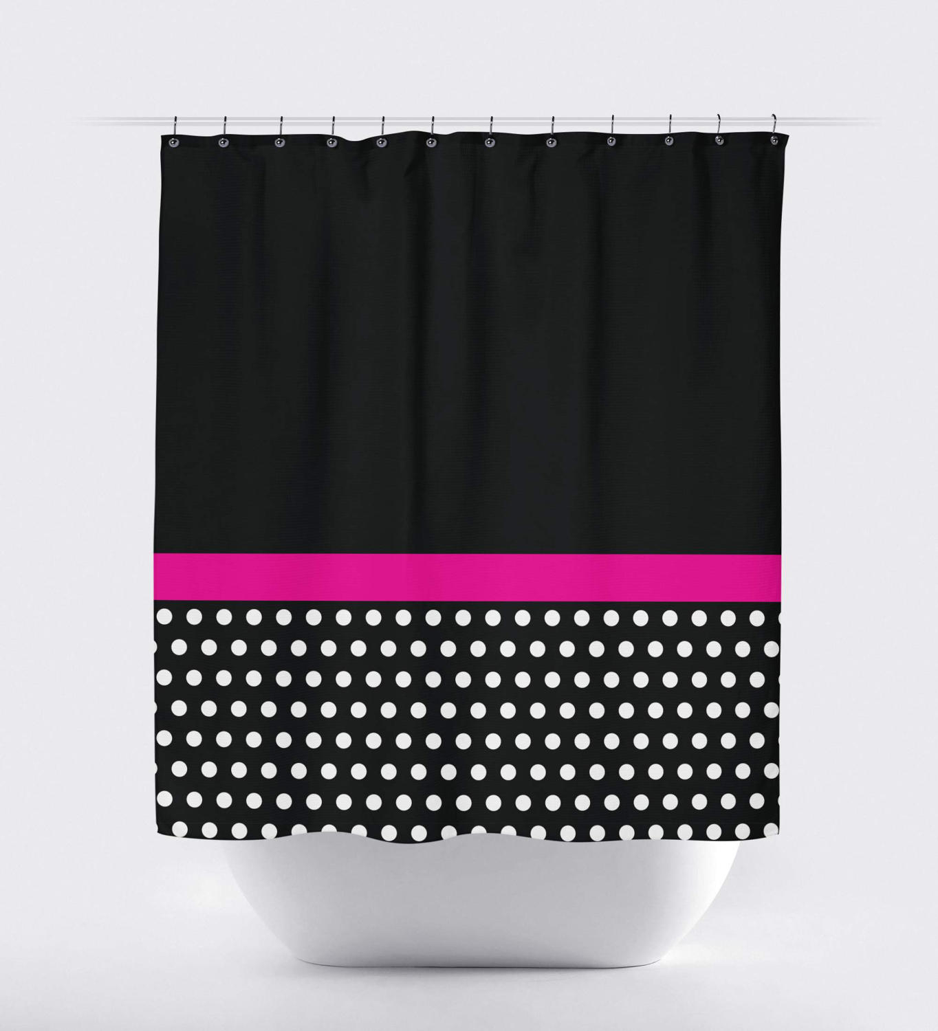 Polka Dot Color Block Shower Curtain Hot Pink Black White Intended For  Measurements 1364 X 1500
