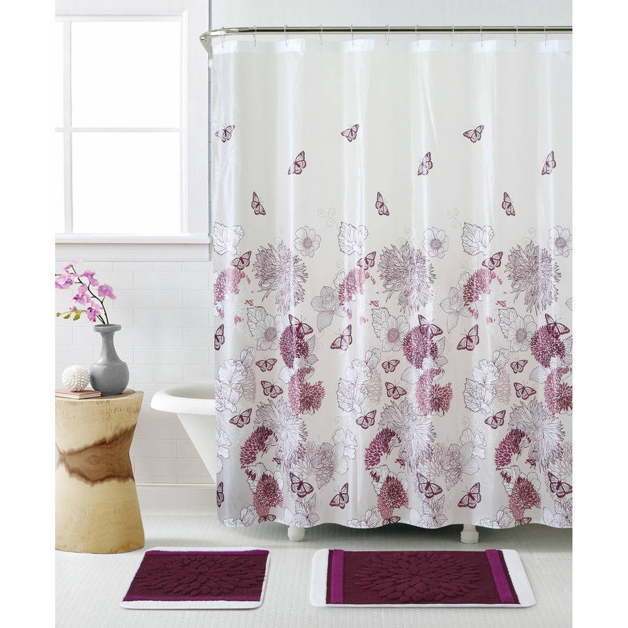 Purple Butterfly Shower Curtain Hooks Shower Curtain Design throughout measurements 900 X 900