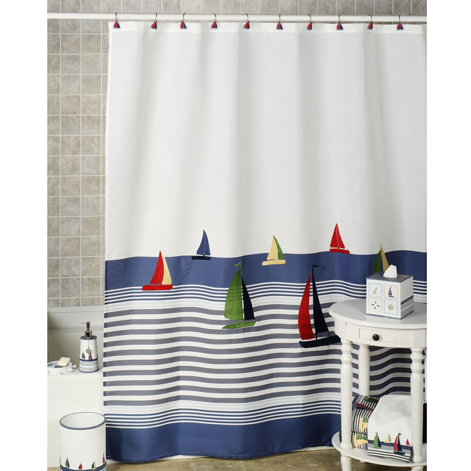 Red And Blue Nautical Shower Curtain Shower Curtains Design intended for size 2000 X 2000