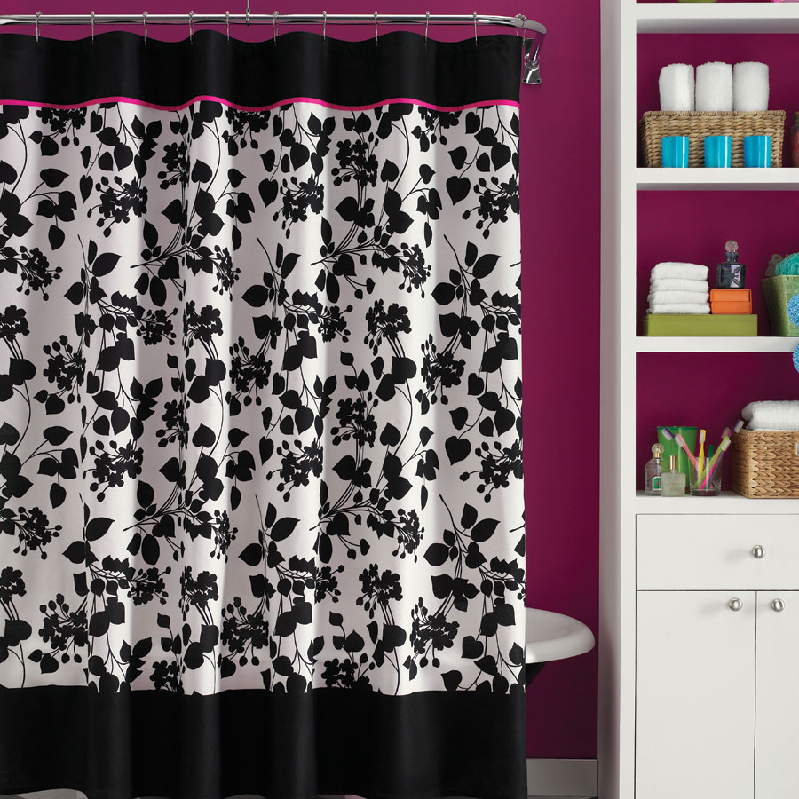 Pink Black And White Shower Curtain - Home Ideas